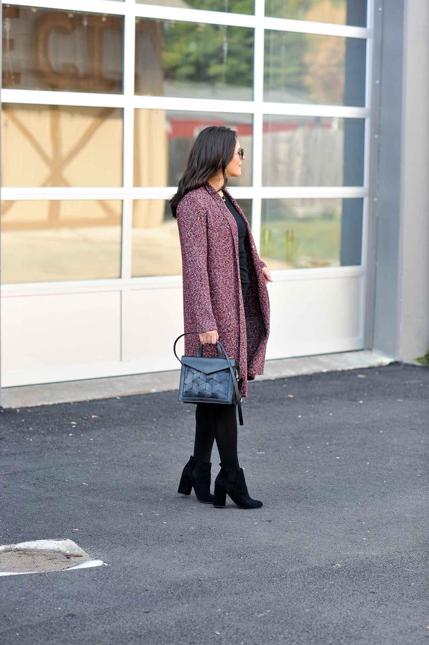 Black sweater dress with cardigan, best black tights