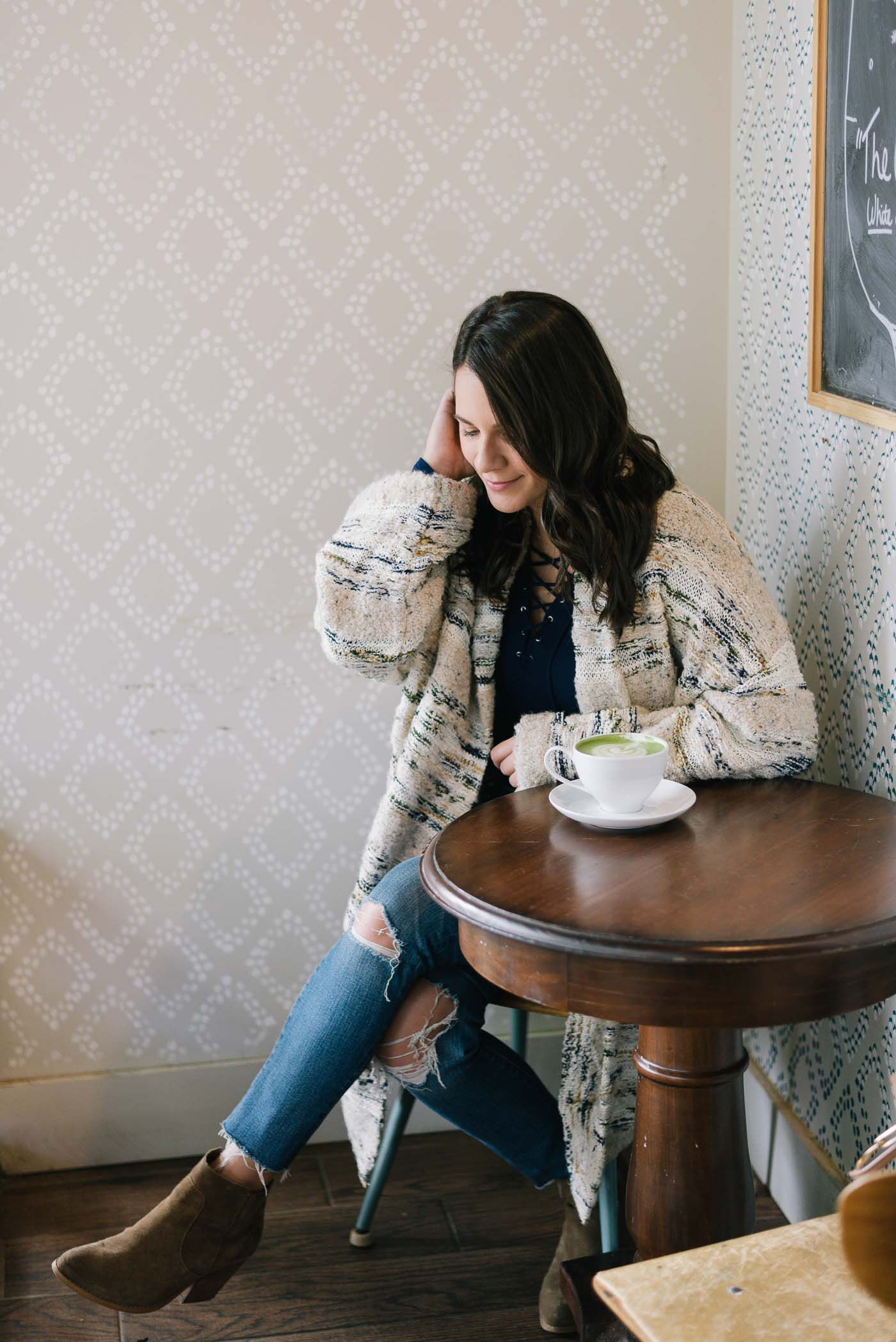 anthropologie cardigan, fall outfit ideas, coffee photos, matcha latte - My Style Vita @mystylevita