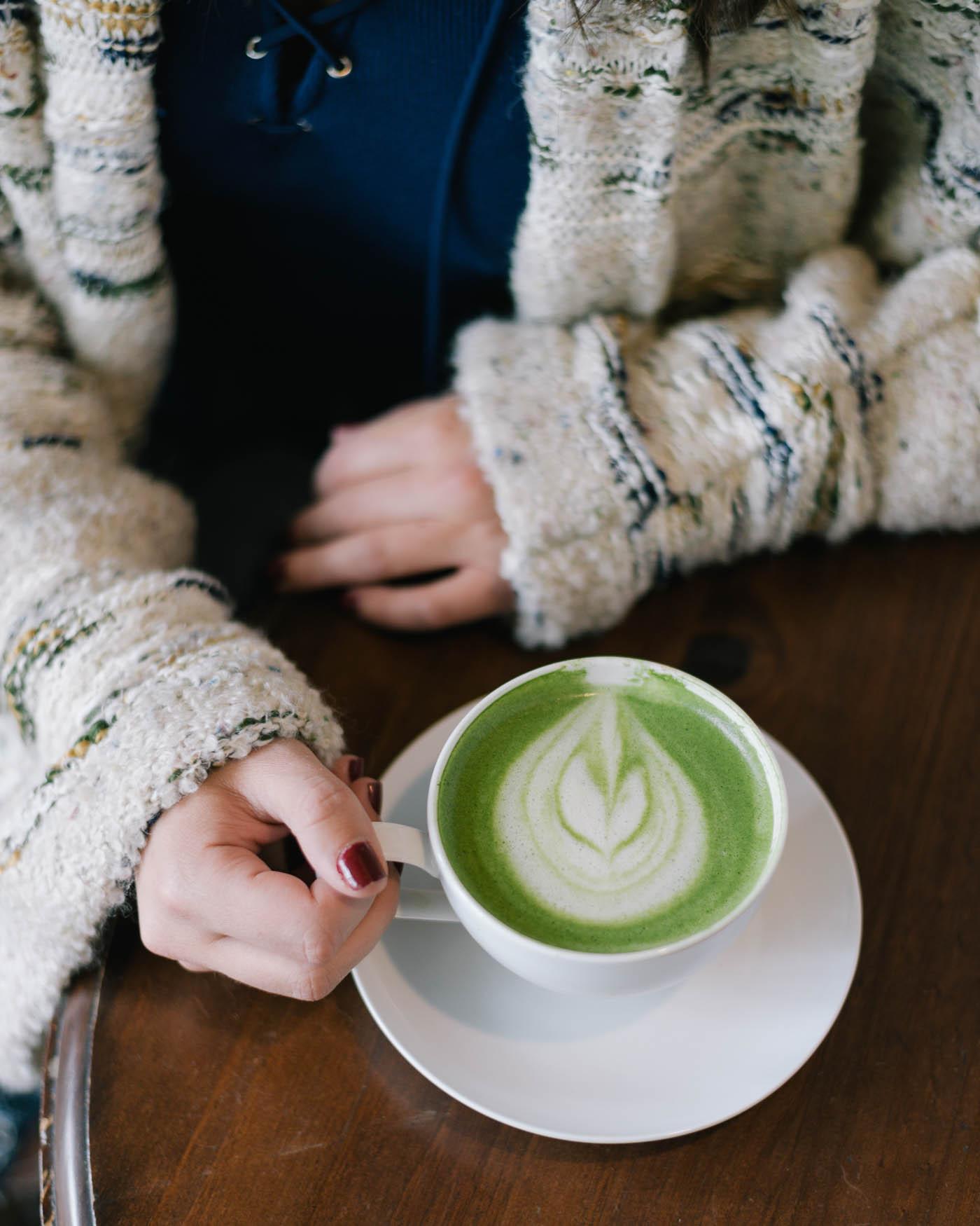 matcha latte, latte art, places to visit in Asheville, Asheville coffee shop - My Style Vita @mystylevita