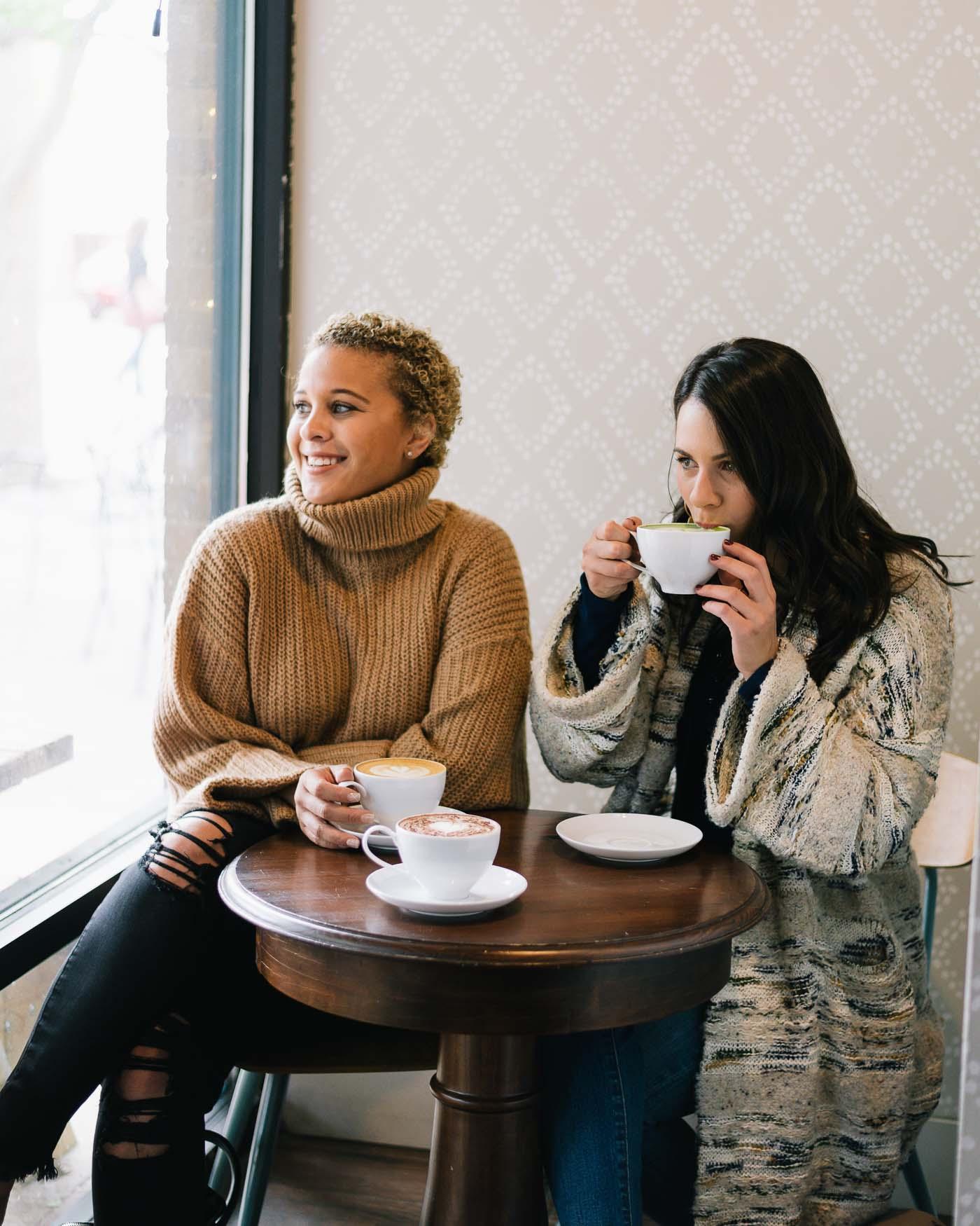 friends in coffee shop, getting coffee, fall fashion - My Style Vita @mystylevita
