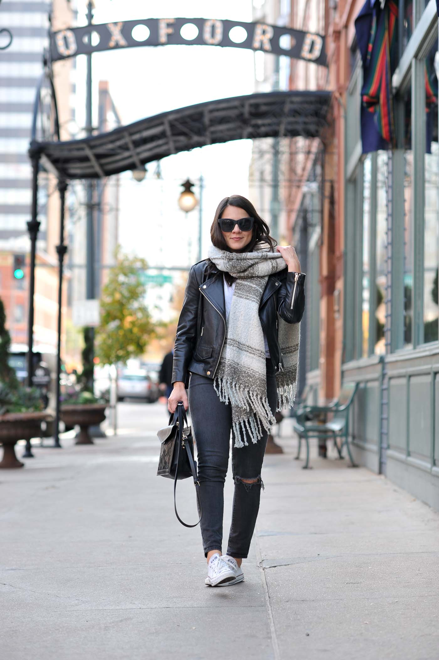 casual fall outfit ideas, cozy blanket scarf, black and grey outfits - My Style Vita @mystylevita