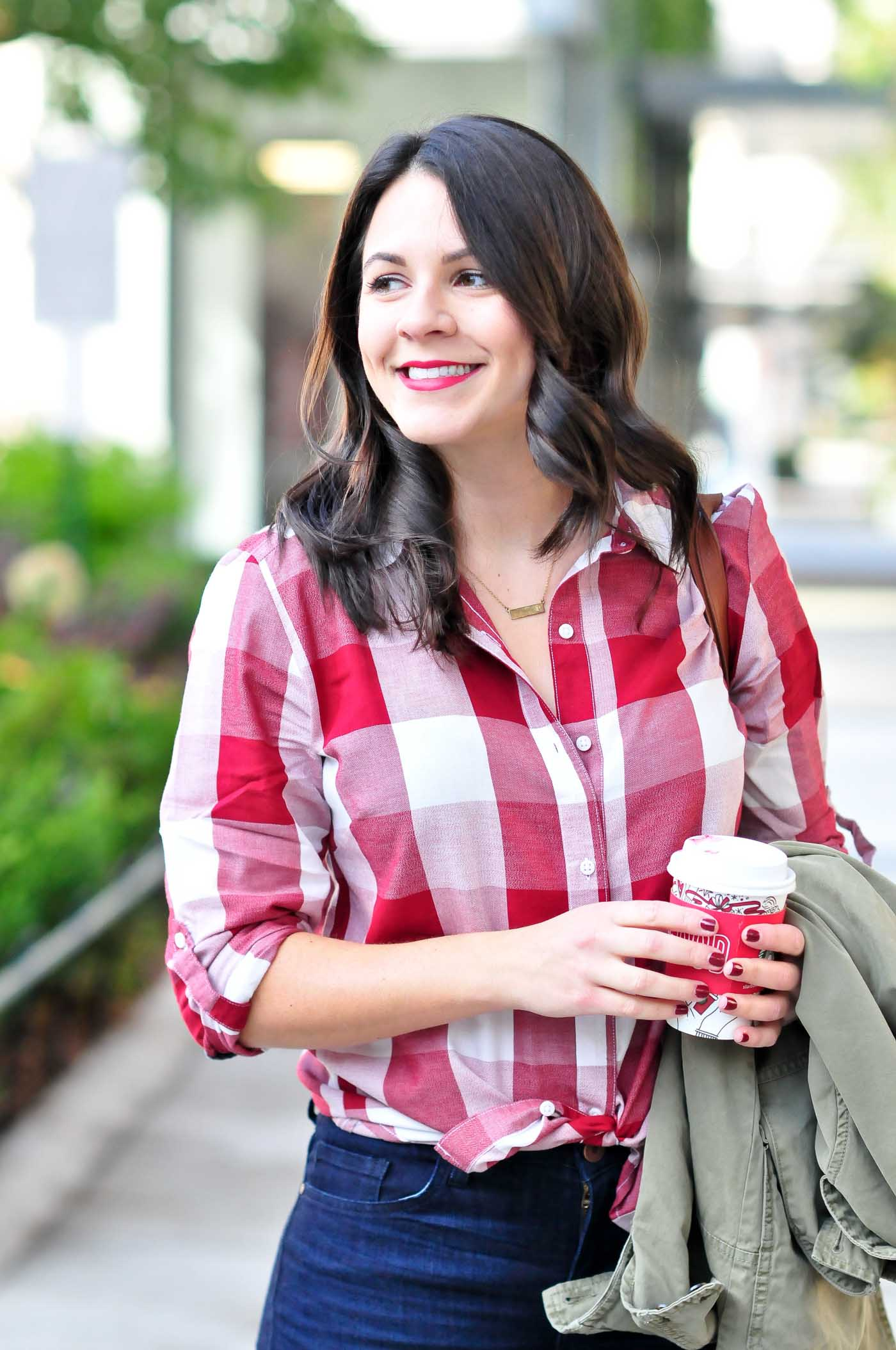 affordable denim, denim and booties, womens fashion, casual fall outfits, plaid button down - My Style Vita @mystylevita