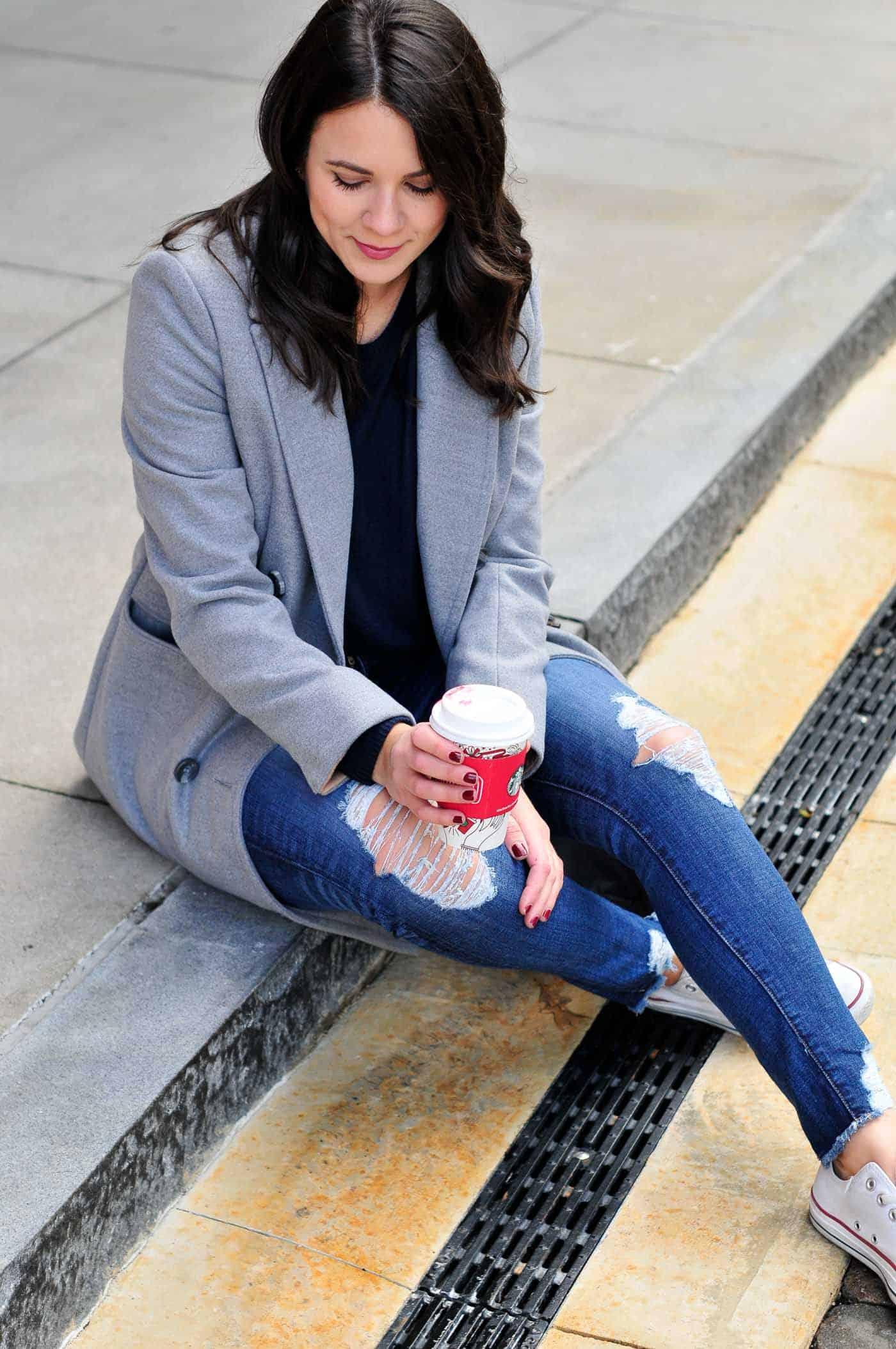 grey coat and converse, how to dress down a grey coat - My Style Vita @mystylevita