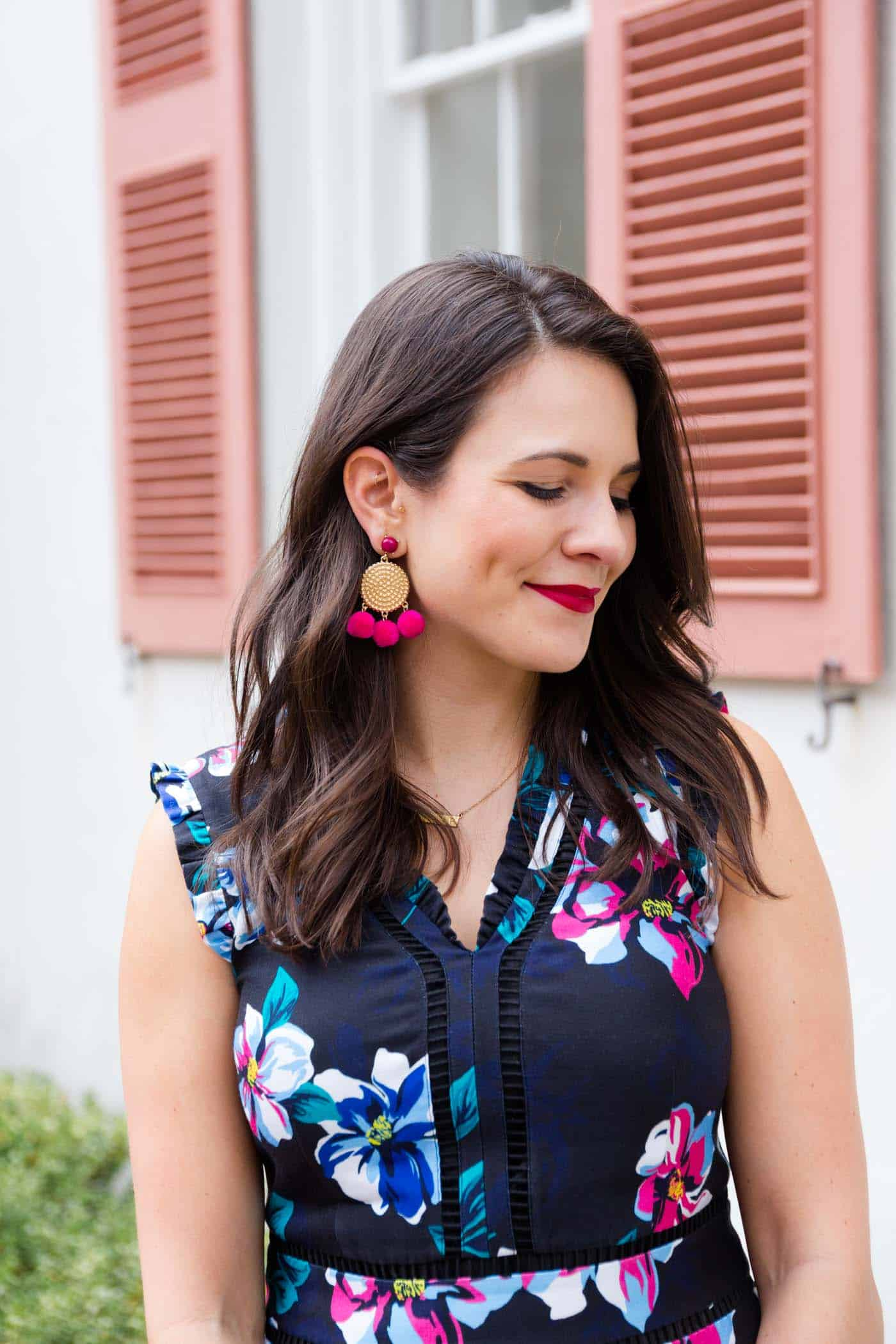 statement earrings, floral dress - My Style Vita @mystylevita