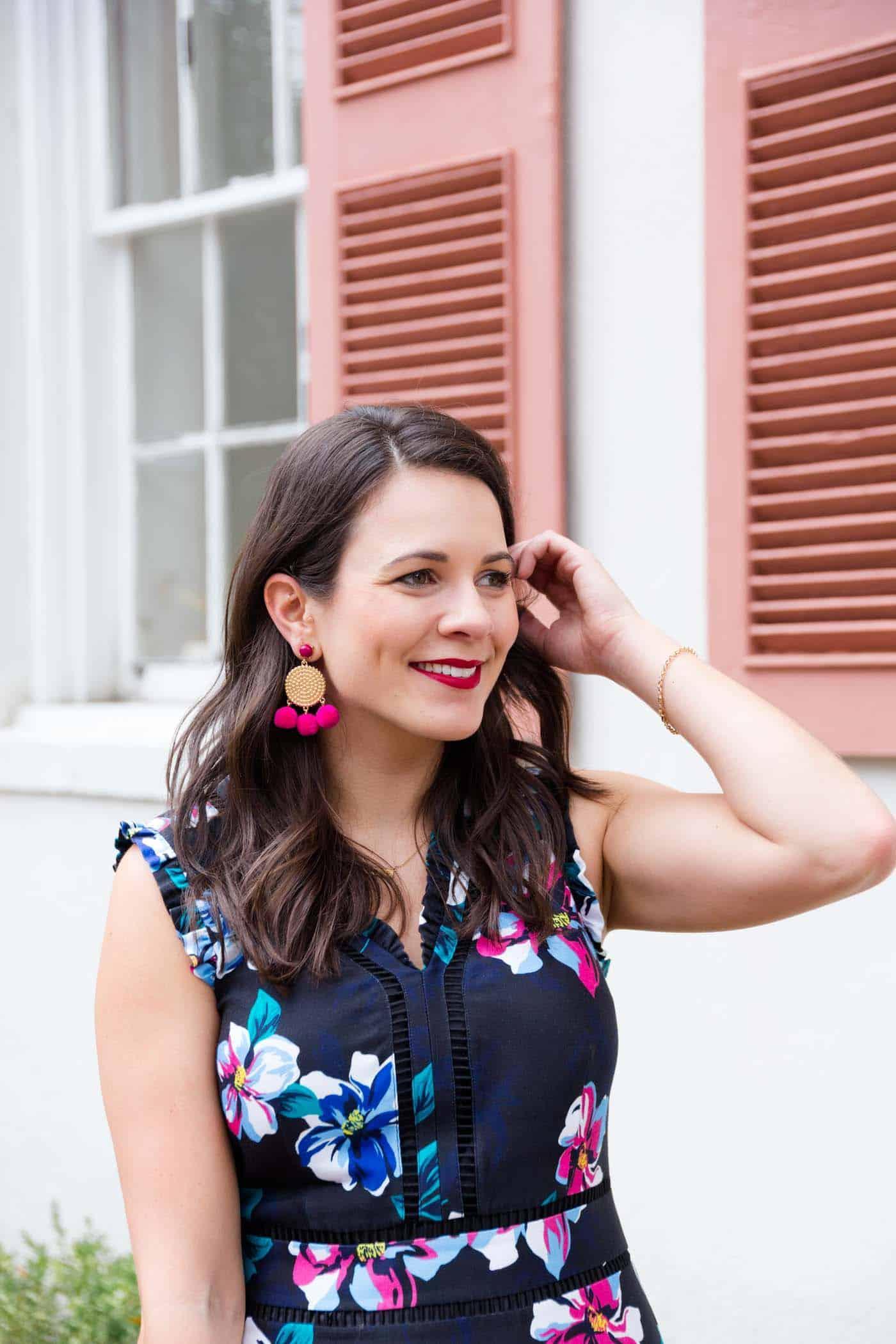 statement hot pink earrings, Draper James Dorothy dress, floral dress - My Style Vita @mystylevita