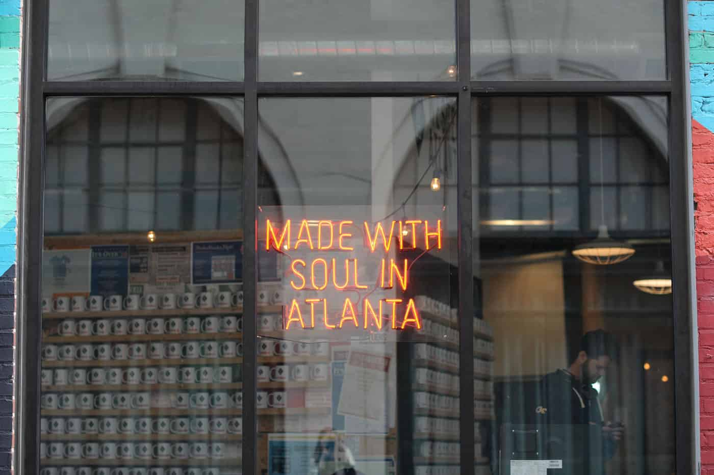 Made with soul in Atlanta neon sign
