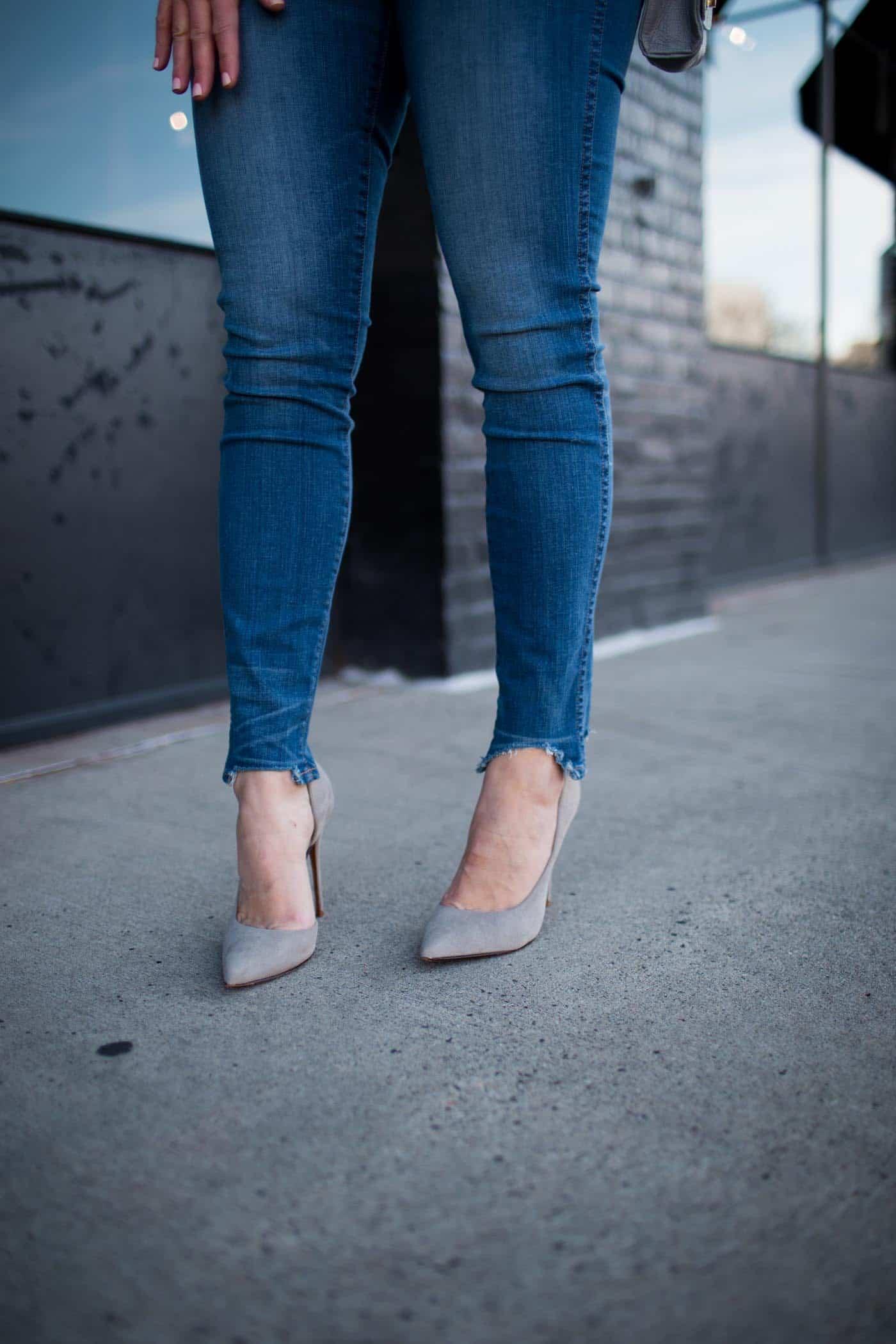 grey suede heels, denim - My Style Vita @mystylevita