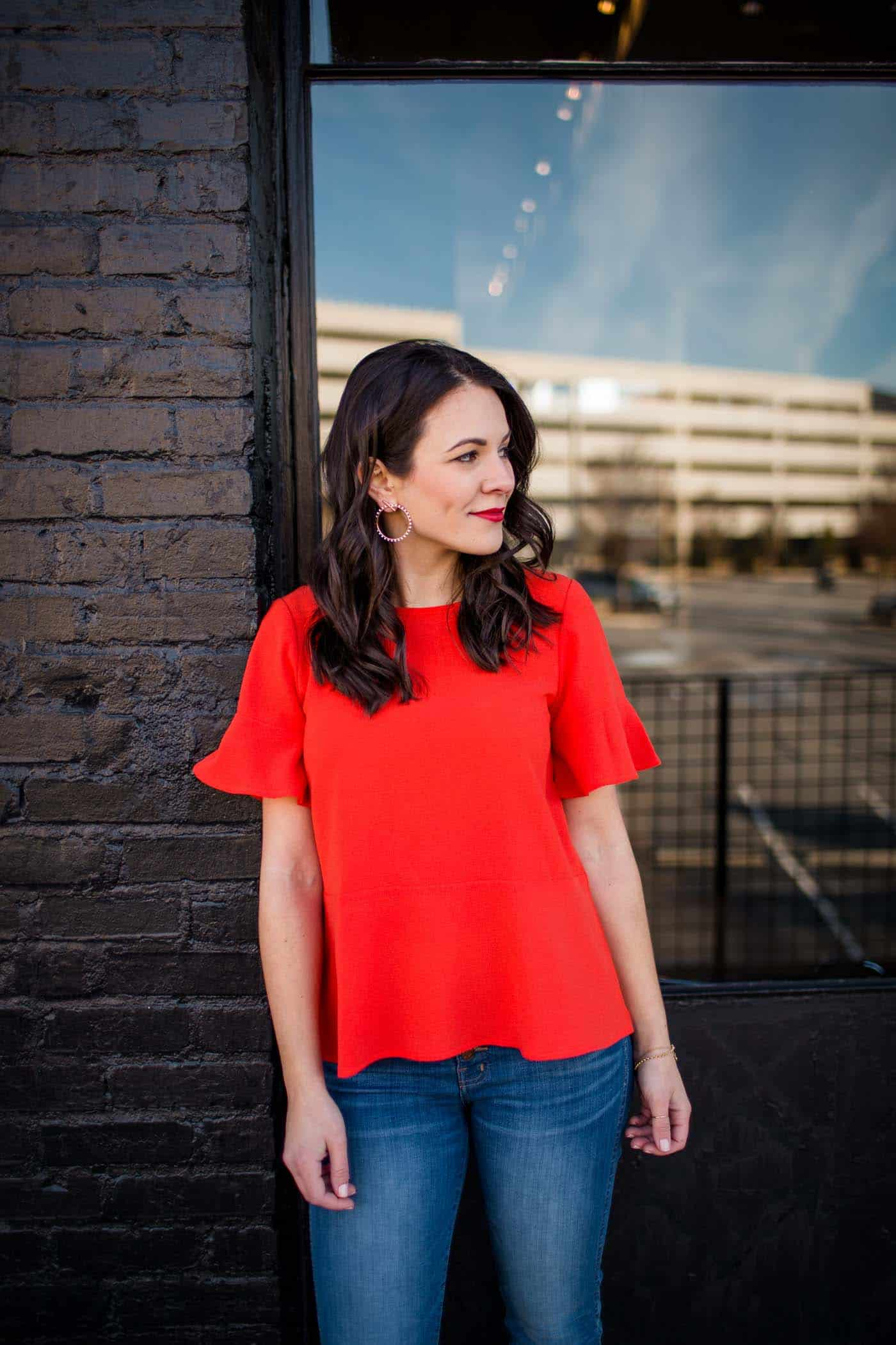 red flutter sleeve top, outfit ideas - My Style Vita @mystylevita