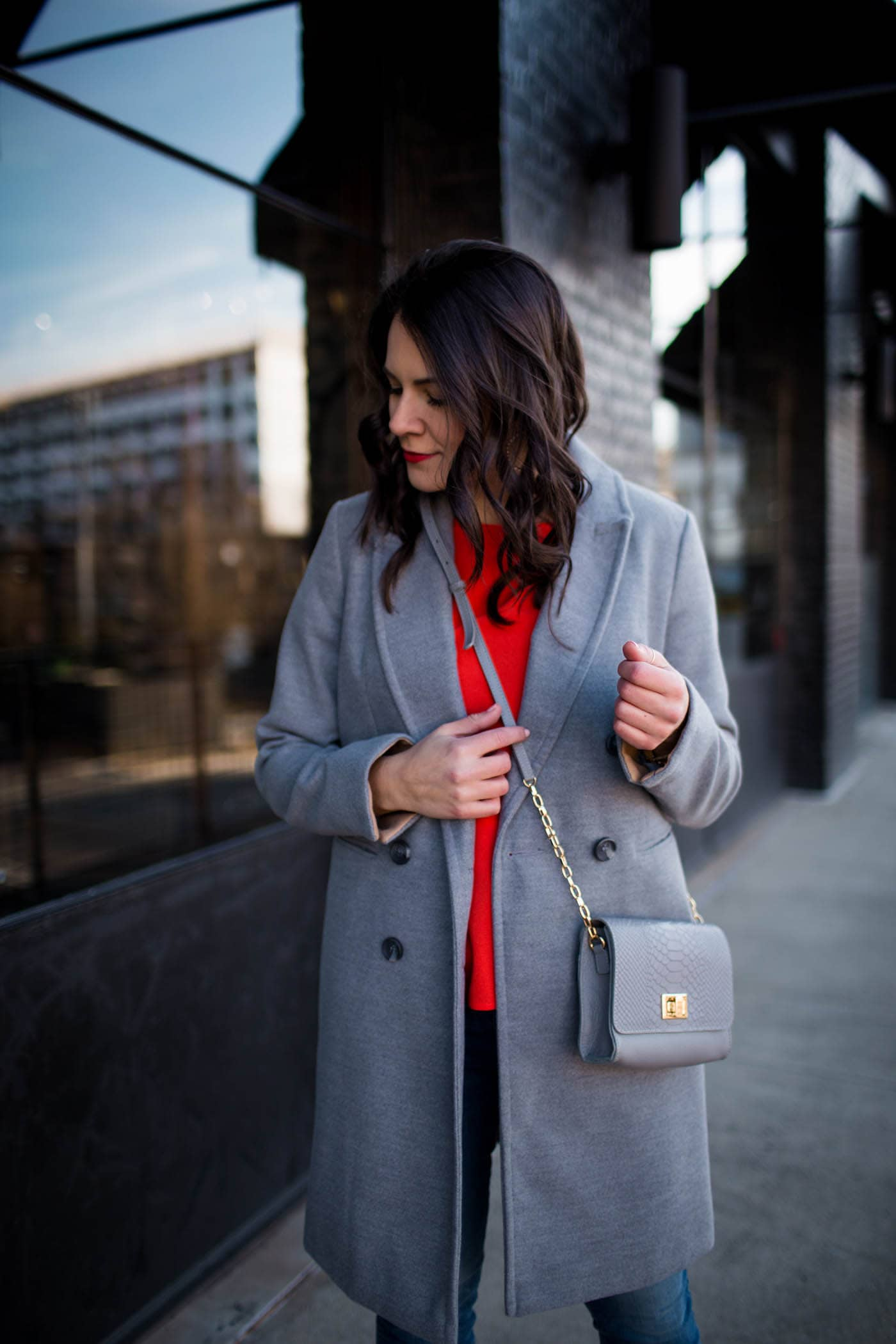 grey top coat, grey purse, red flutter sleeve top, outfit ideas - My Style Vita @mystylevita