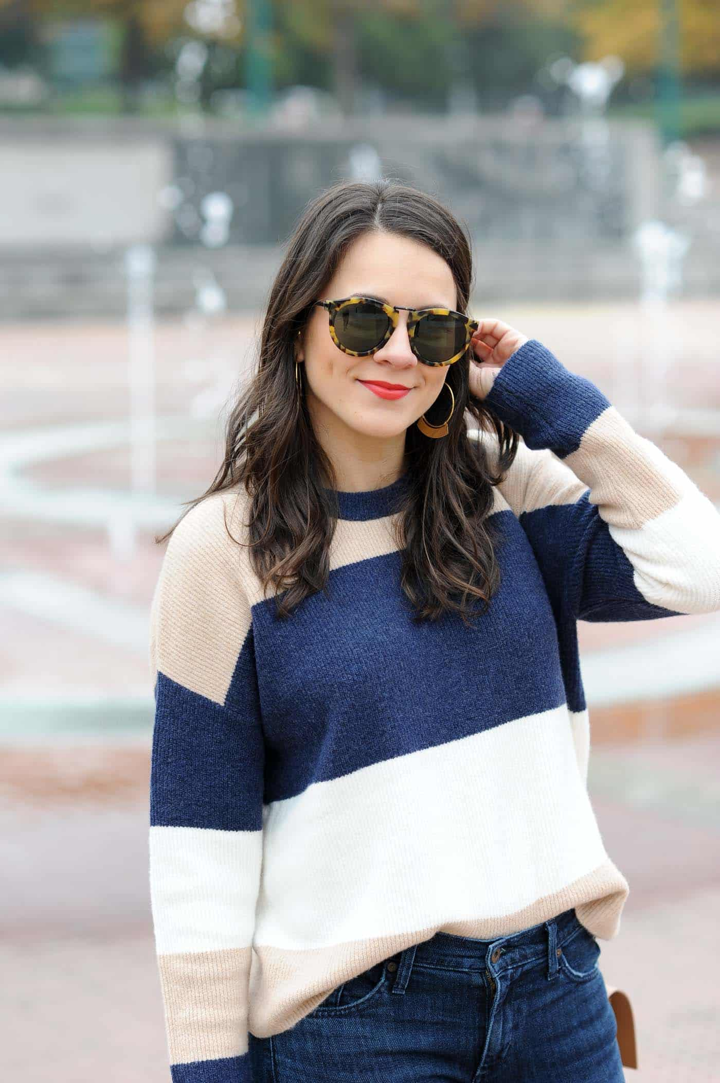 striped sweater, navy and cream outfit ideas - My Style Vita @mystylevita