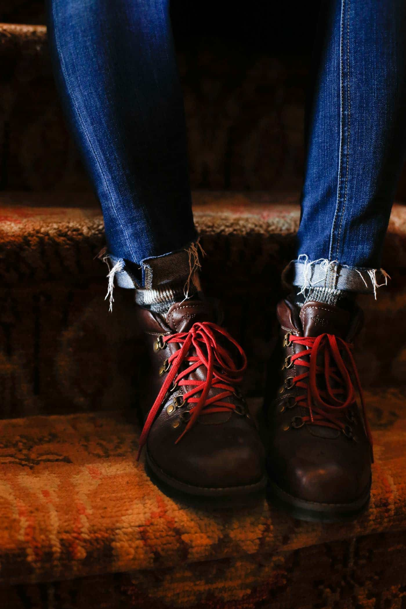 winter boots with red laces, jeans and boots, winter style - My Style Vita @mystylevita