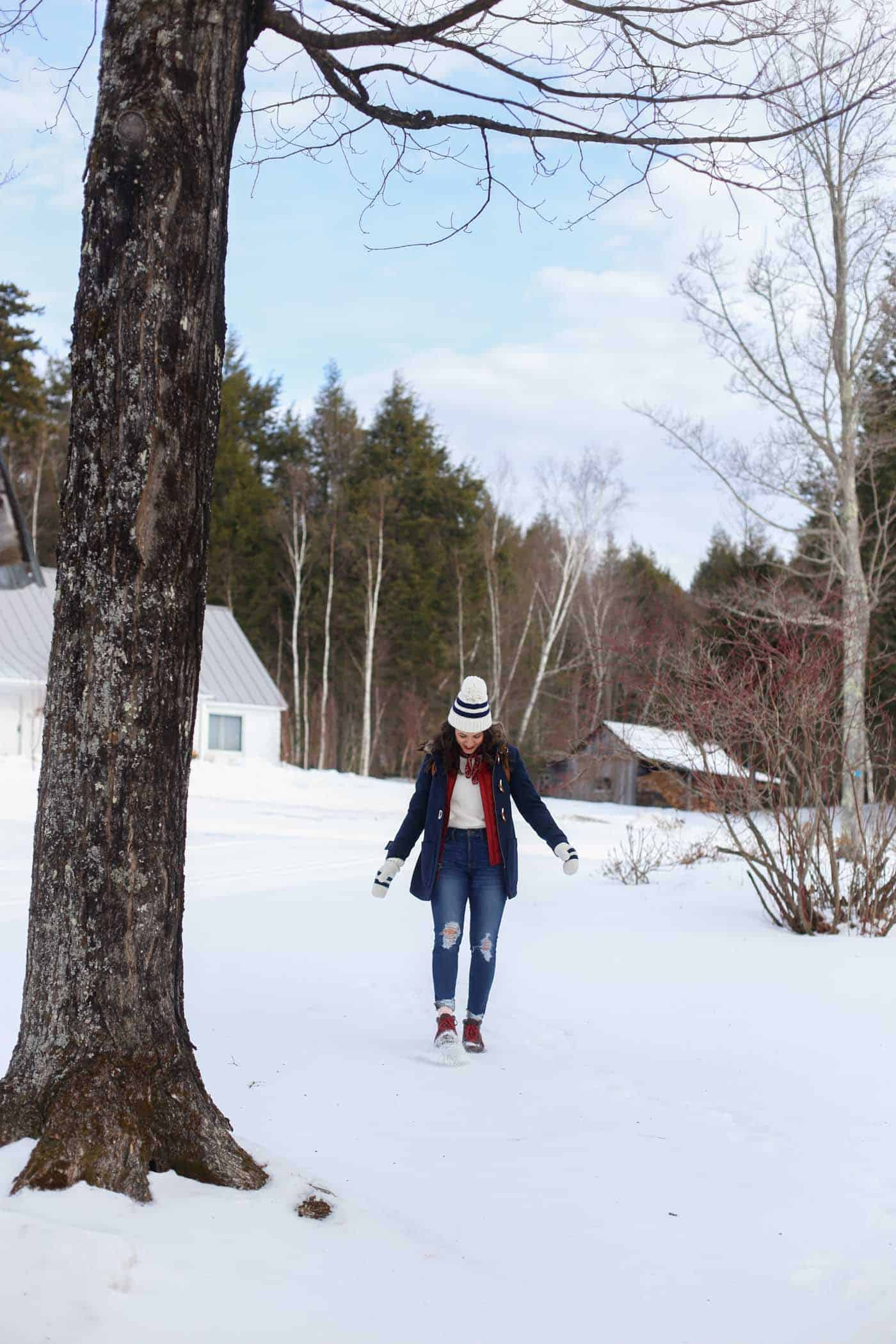 how to layer for winter, winter wonderland, things to wear in the winter, cozy outfits, snow, Vermont - My Style Vita @mystylevita