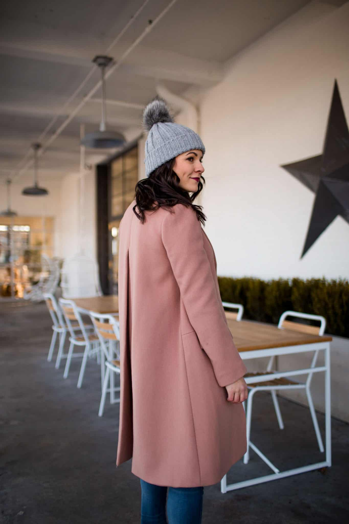 pink winter coat, cute winter outfits, champagne graphic tee - My Style Vita @mystylevita