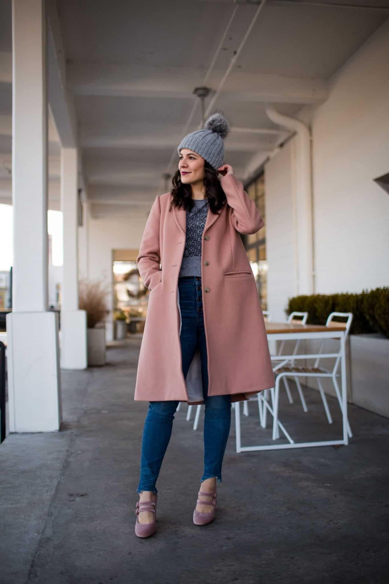 pink winter coat, cute winter outfits - My Style Vita @mystylevita
