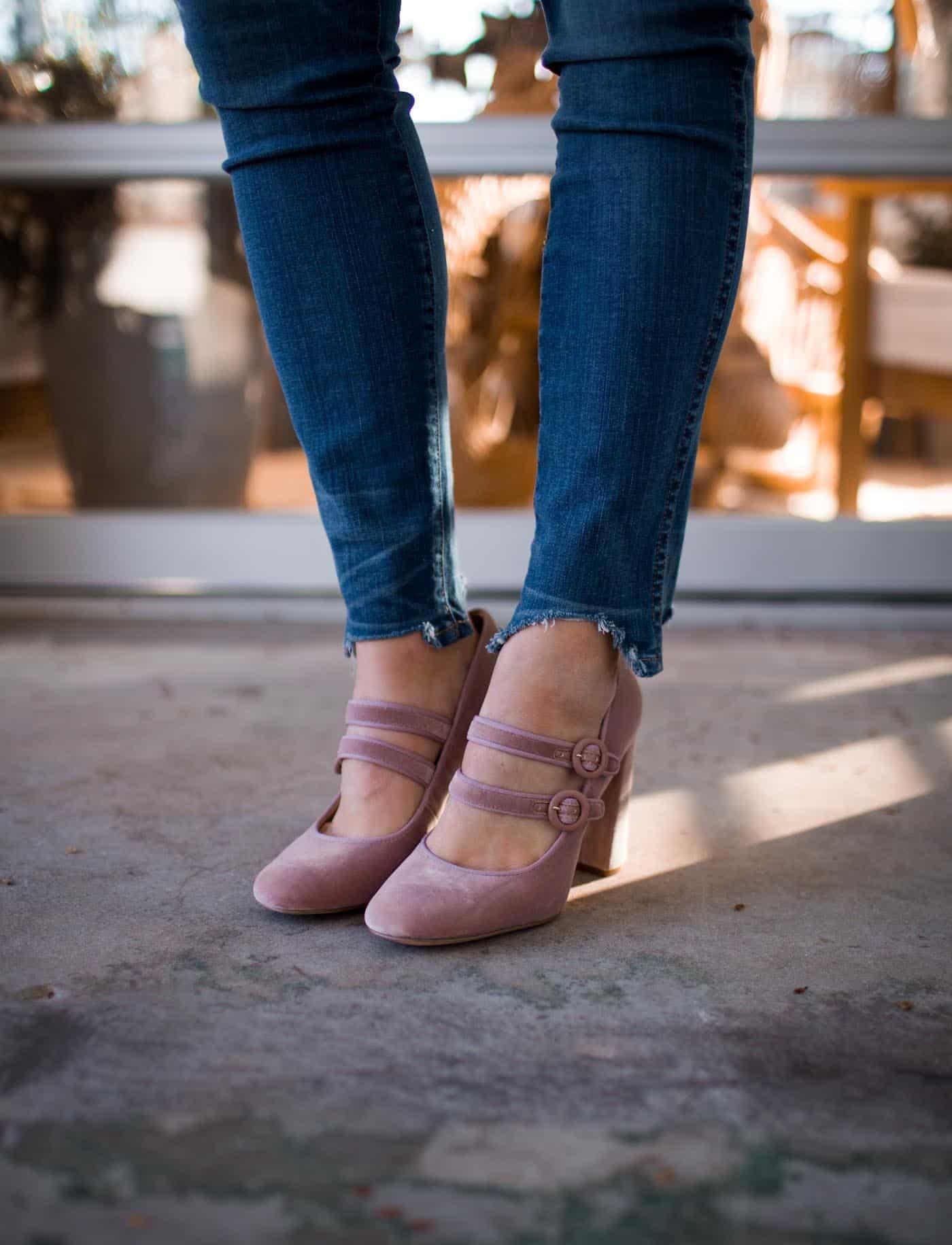 pink velvet mary jane heels - My Style Vita @mystylevita