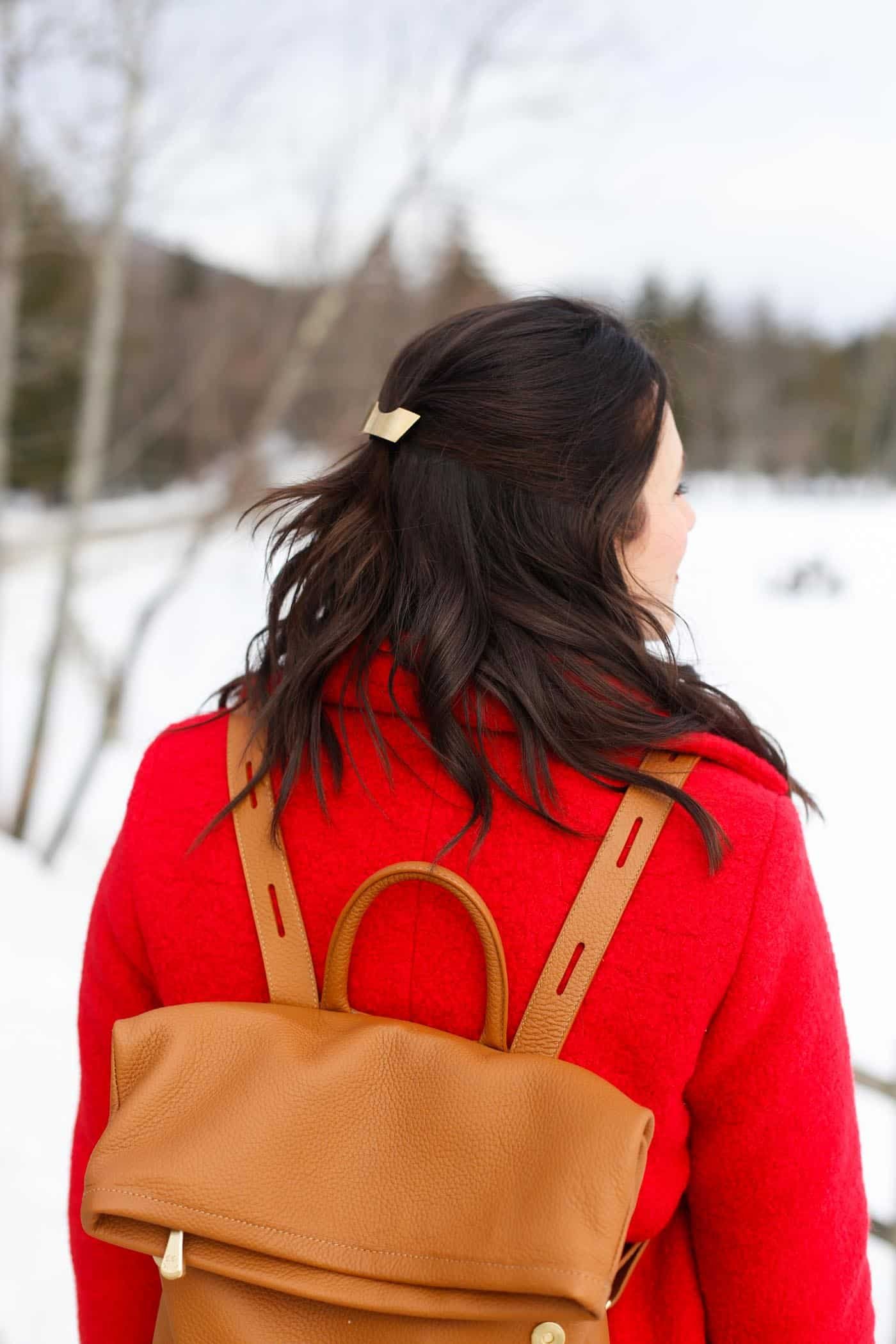 gold hair clip, red winter coat, winter wonderland - My Style Vita @mystylevita