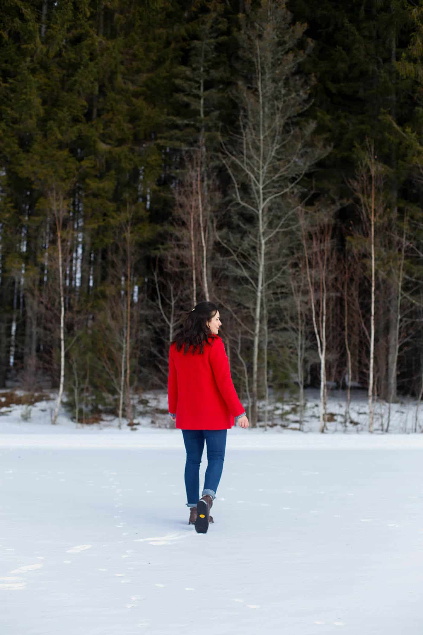 red winter coat, winter wonderland, things to do in Stowe Vermont - My Style Vita @mystylevita