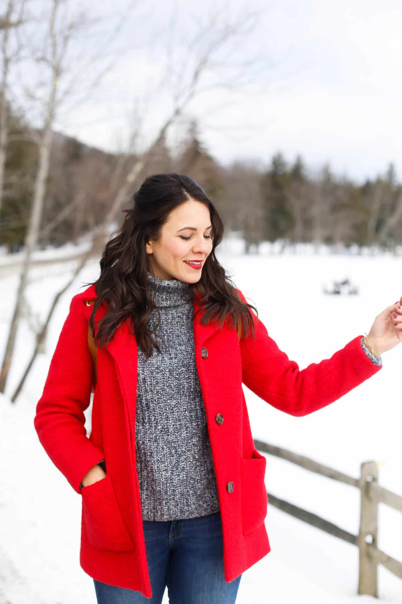 red winter coat, turtleneck, winter style, winter wonderland Vermont My Style Vita @mystylevita