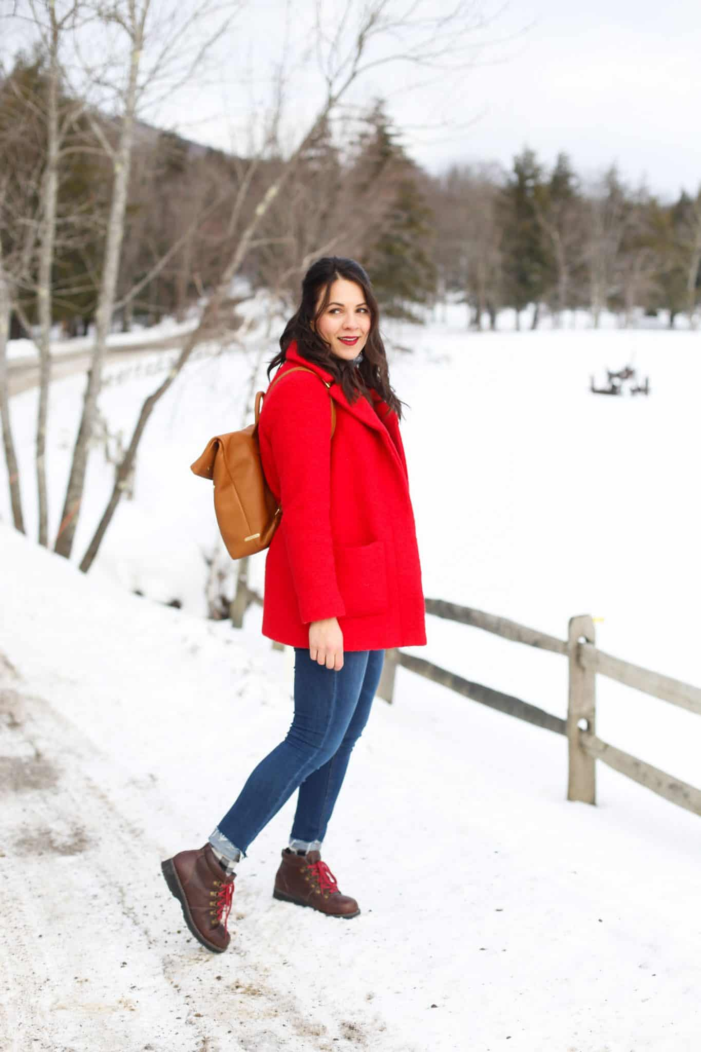 red winter coat, winter style, winter fashion, winter wonderland, Vermont, Stowe - My Style Vita @mystylevita