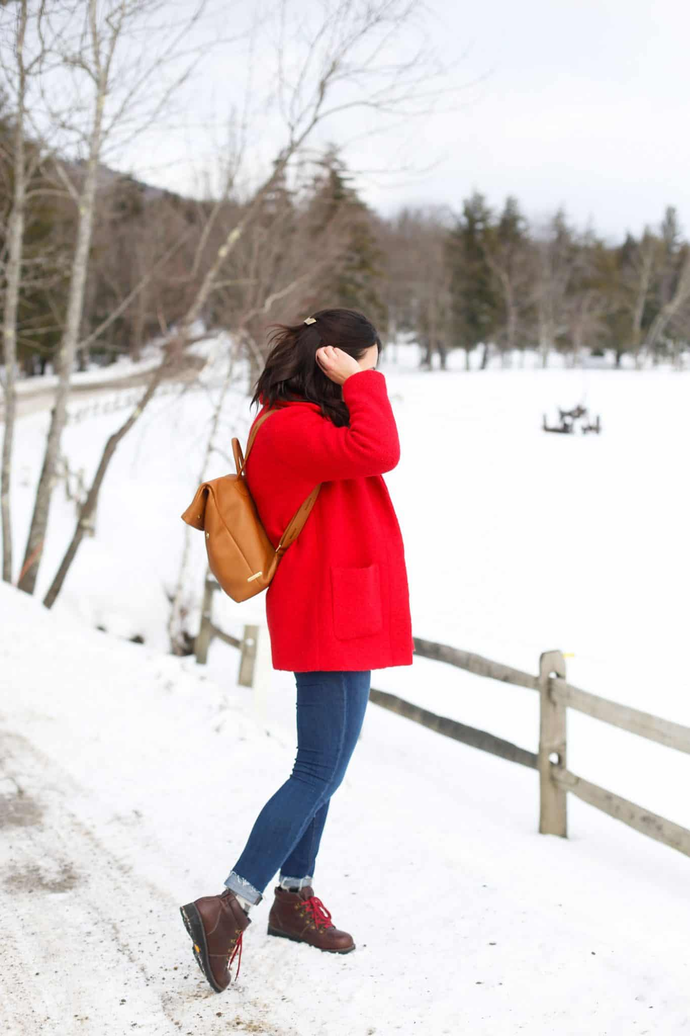 red winter coat, winter style, winter wonderland, winter boots, Vermont - My Style Vita @mystylevita