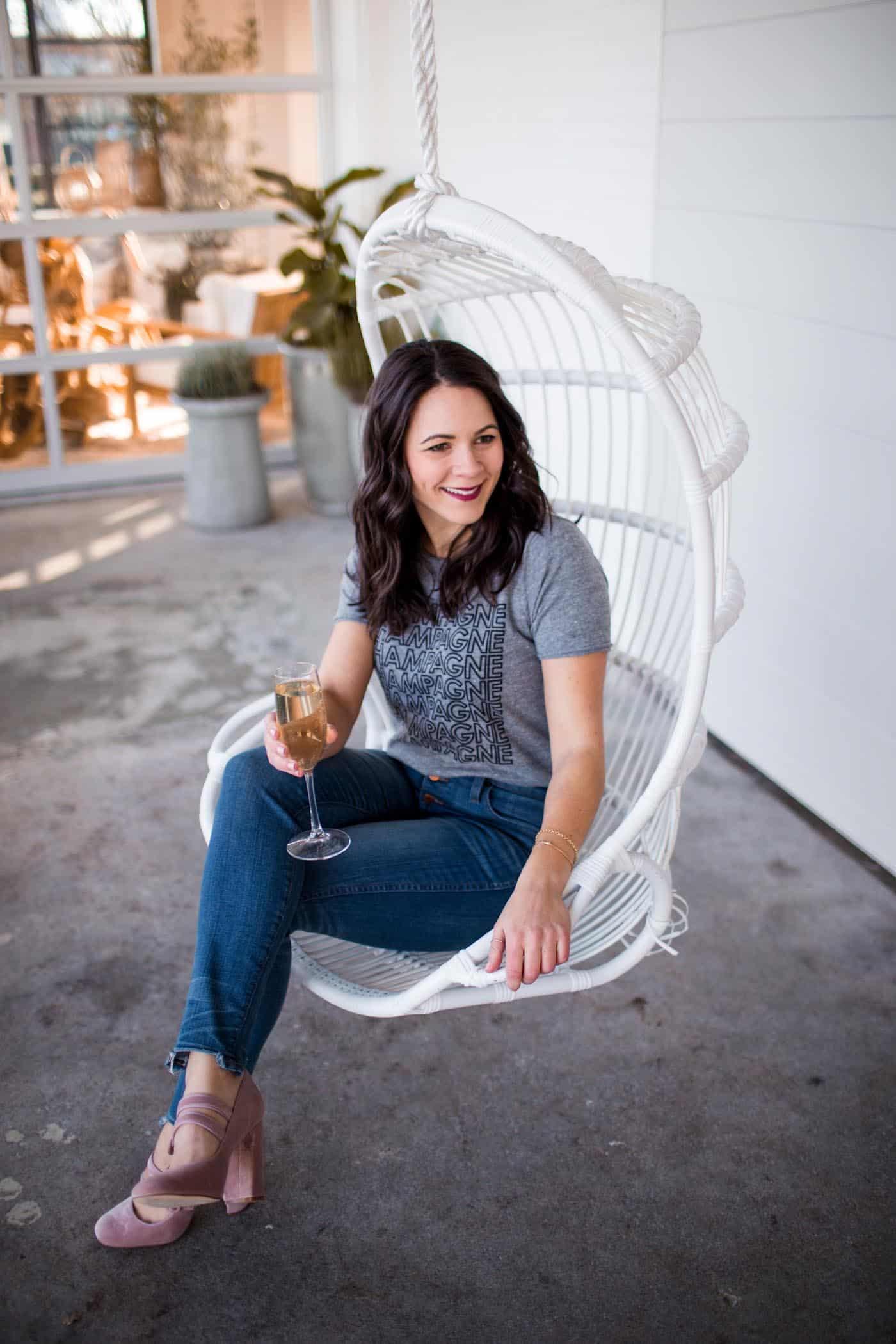 champagne graphic tee, hanging chair - My Style Vita @mystylevita
