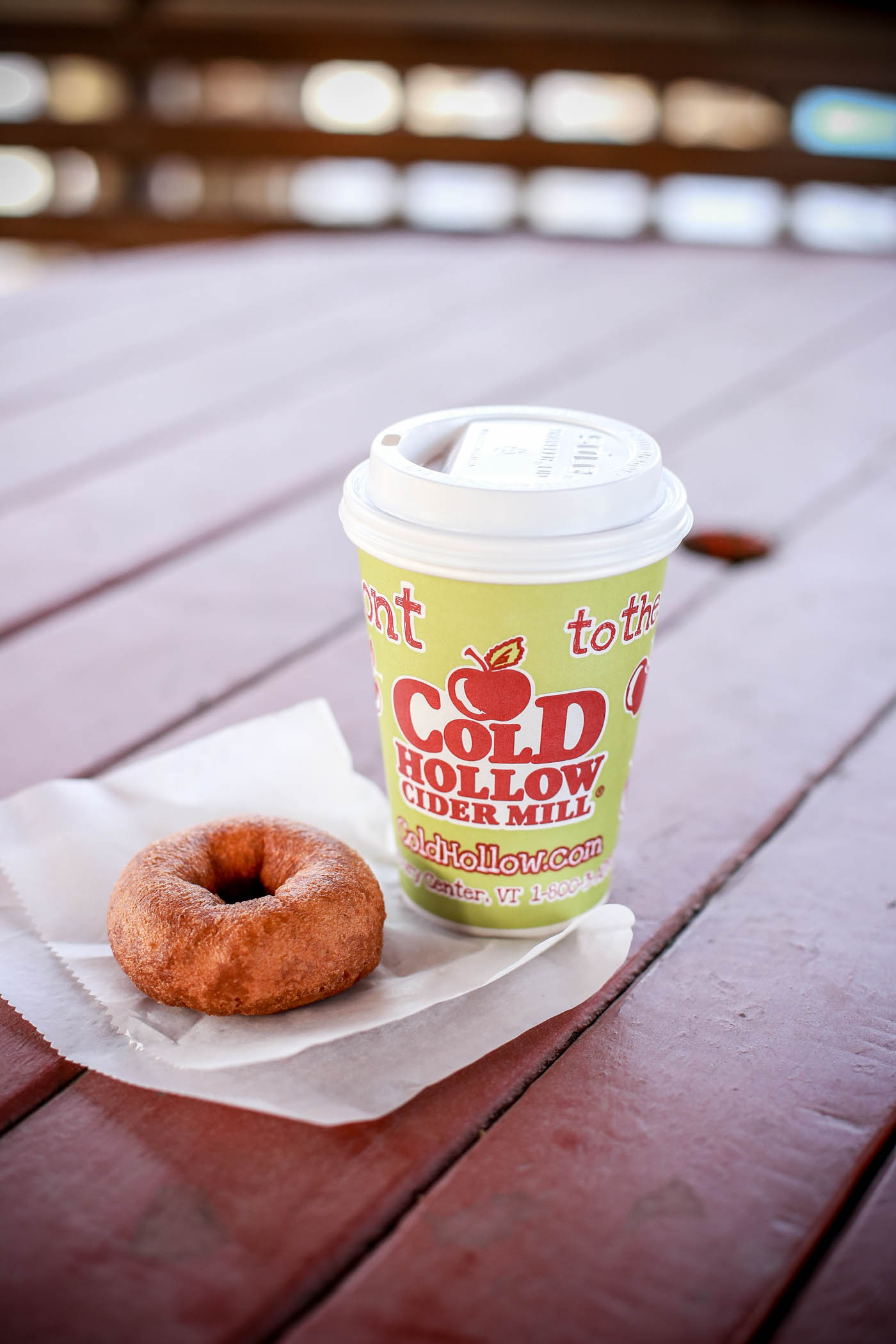 Donut and coffee in winter
