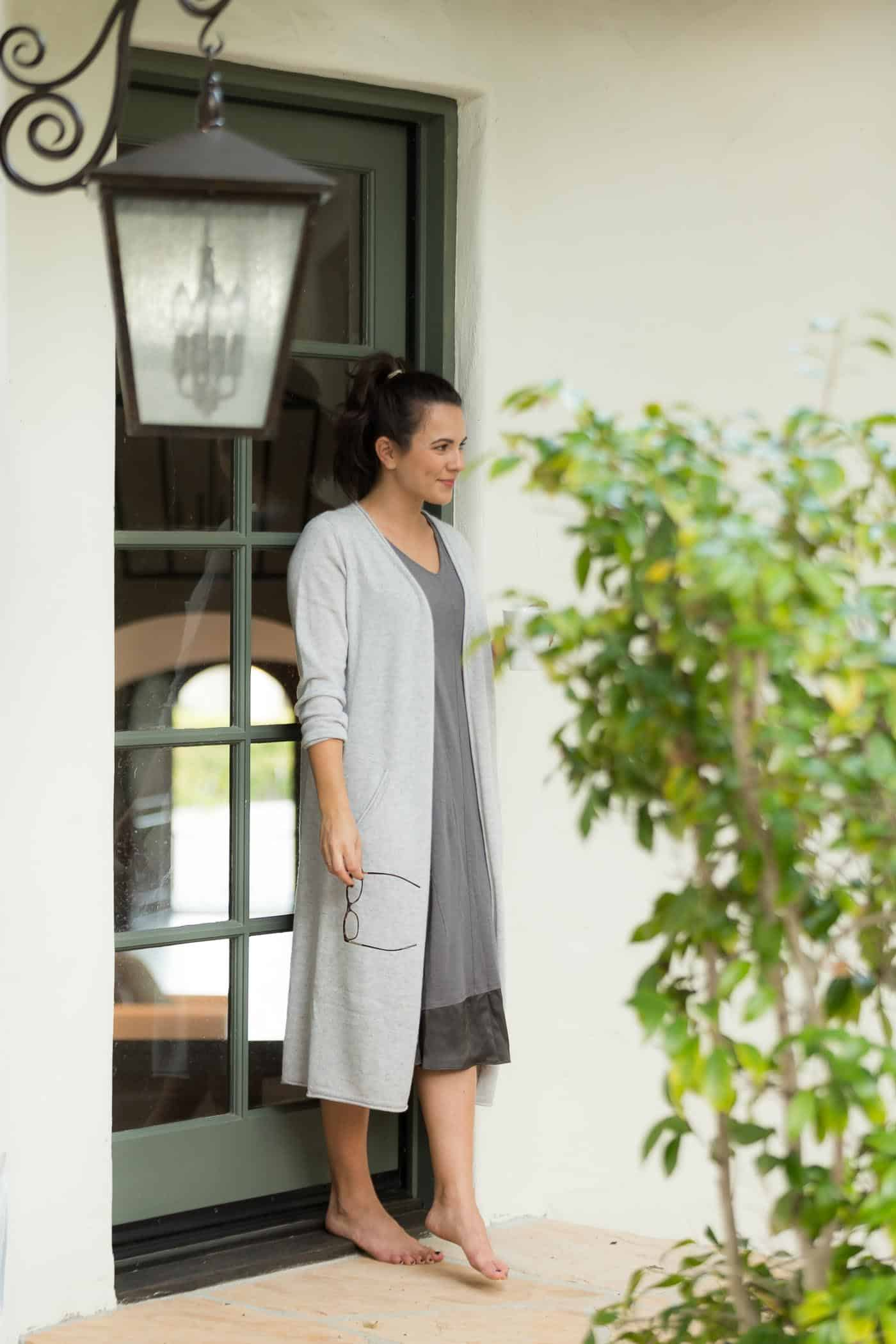 How To Upgrade Your Loungewear And Look Put Together, morning coffee, Cashmere cardigan, sleep dress - My Style Vita @mystylevita