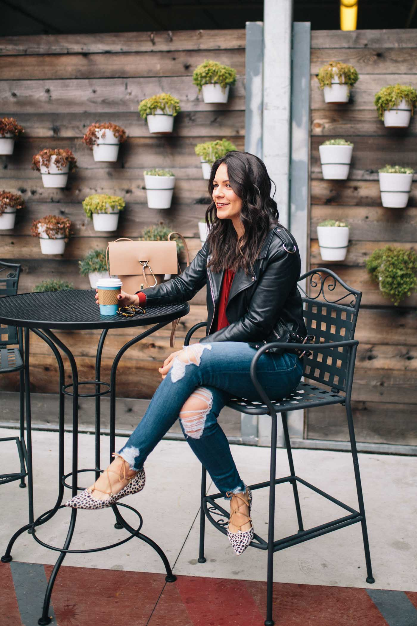 casual valentines day outfits, black leather jacket - My Style Vita @mystylevita