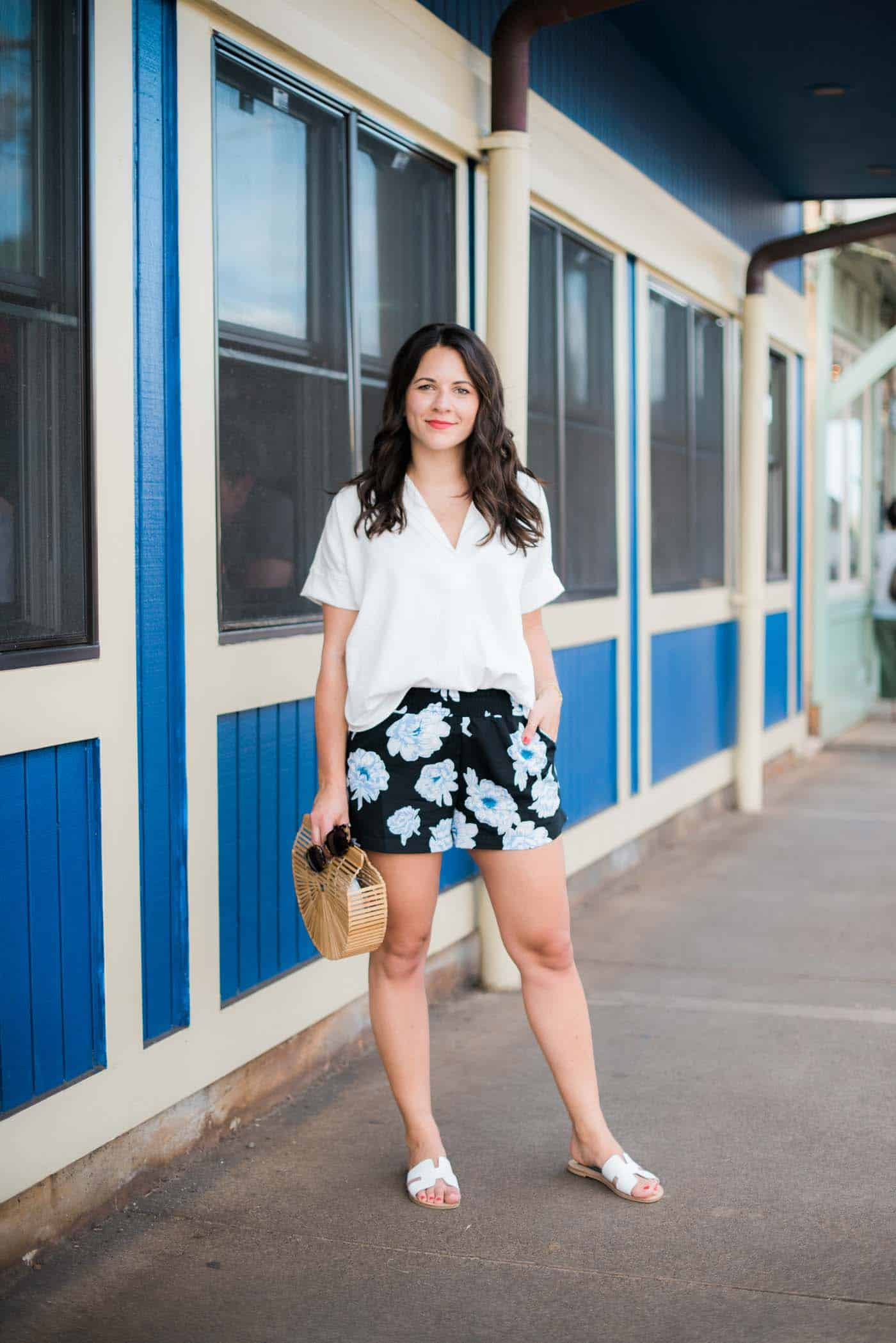 floral shorts, vacation outfit, summer outfit ideas, cult gaia bag - My Style Vita