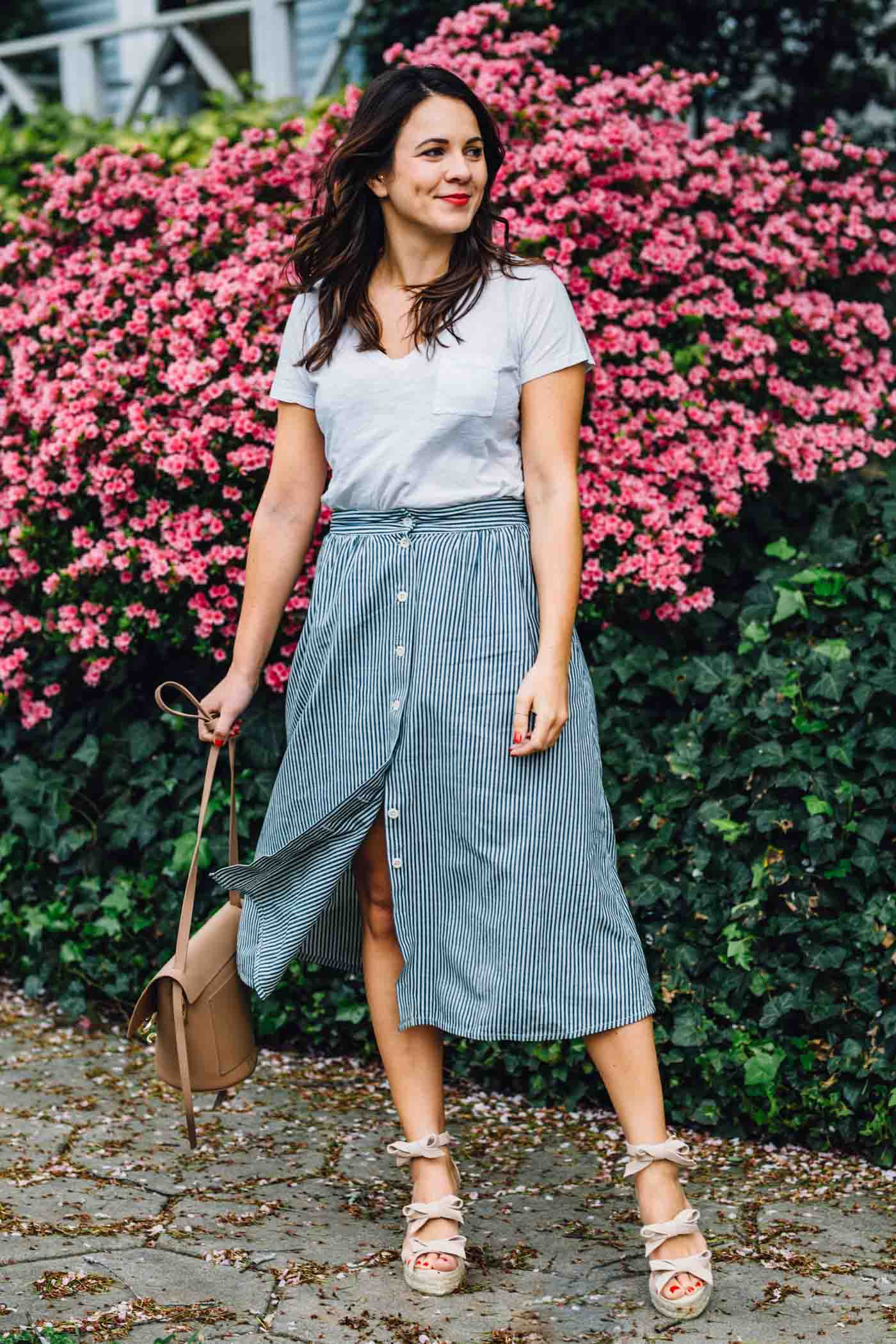 bow wedges, spring outfit ideas, midi skirt - My Style Vita