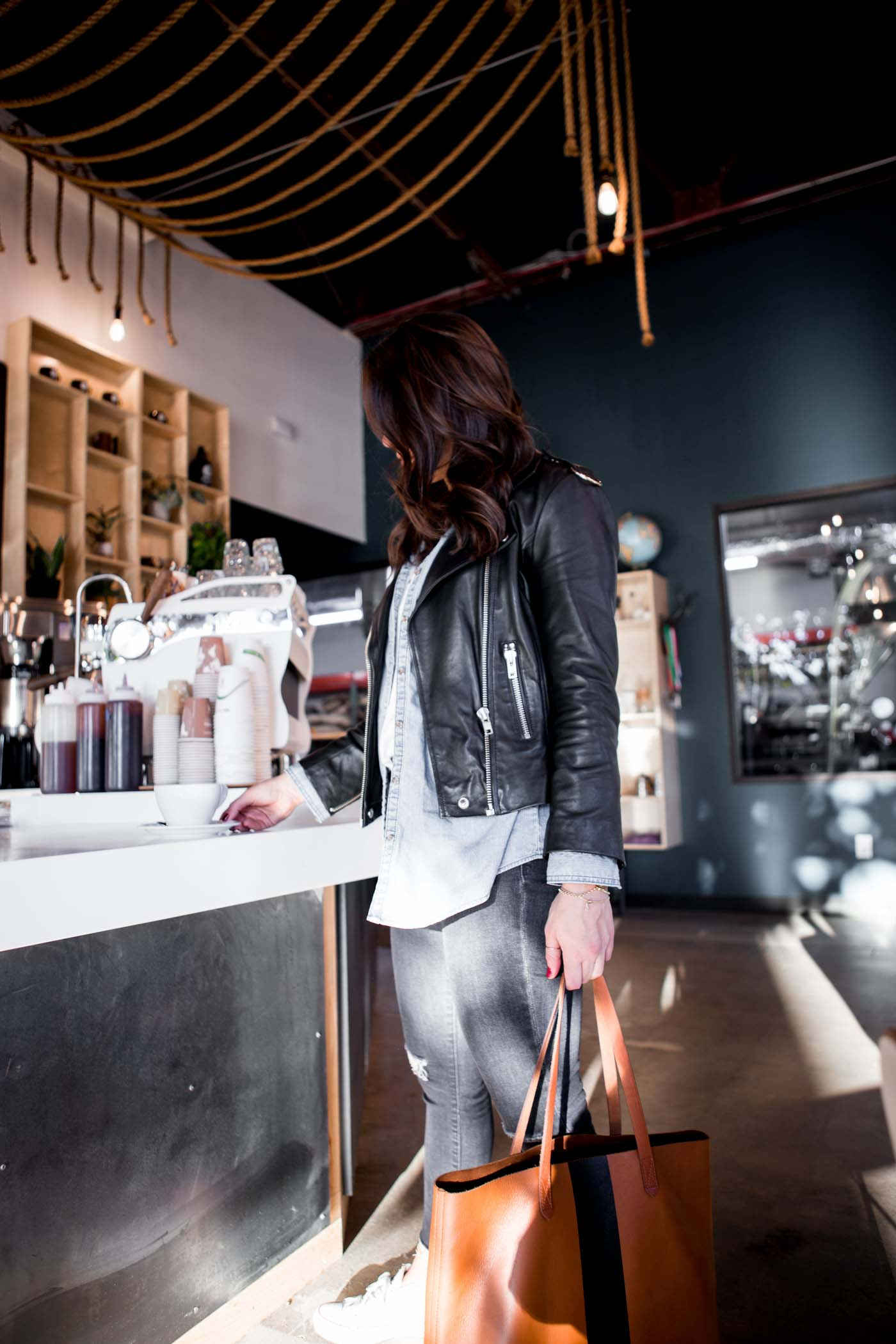 sitting at coffee shop with laptop, girl with laptop, how to work from a coffee shop - My Style Vita