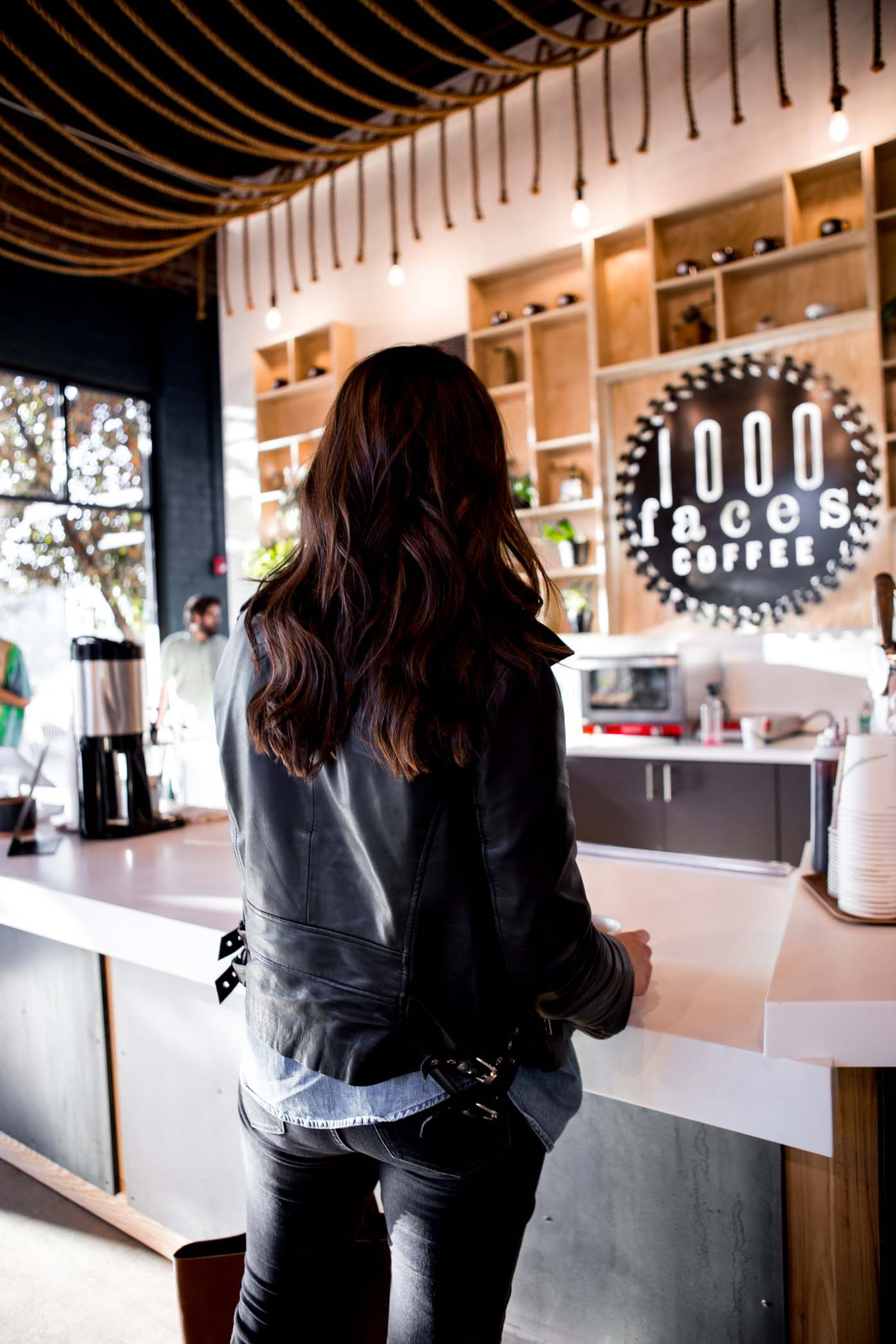 coffee shop, leather jacket outfit, long dark balayage hair - My Style Vita