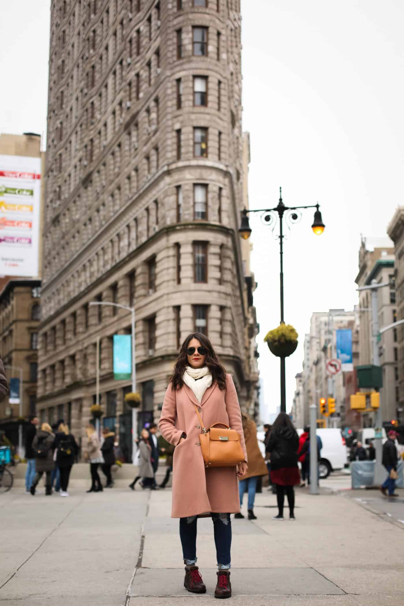 pastel winter clothes, pink coat, flatiron building - My Style Vita