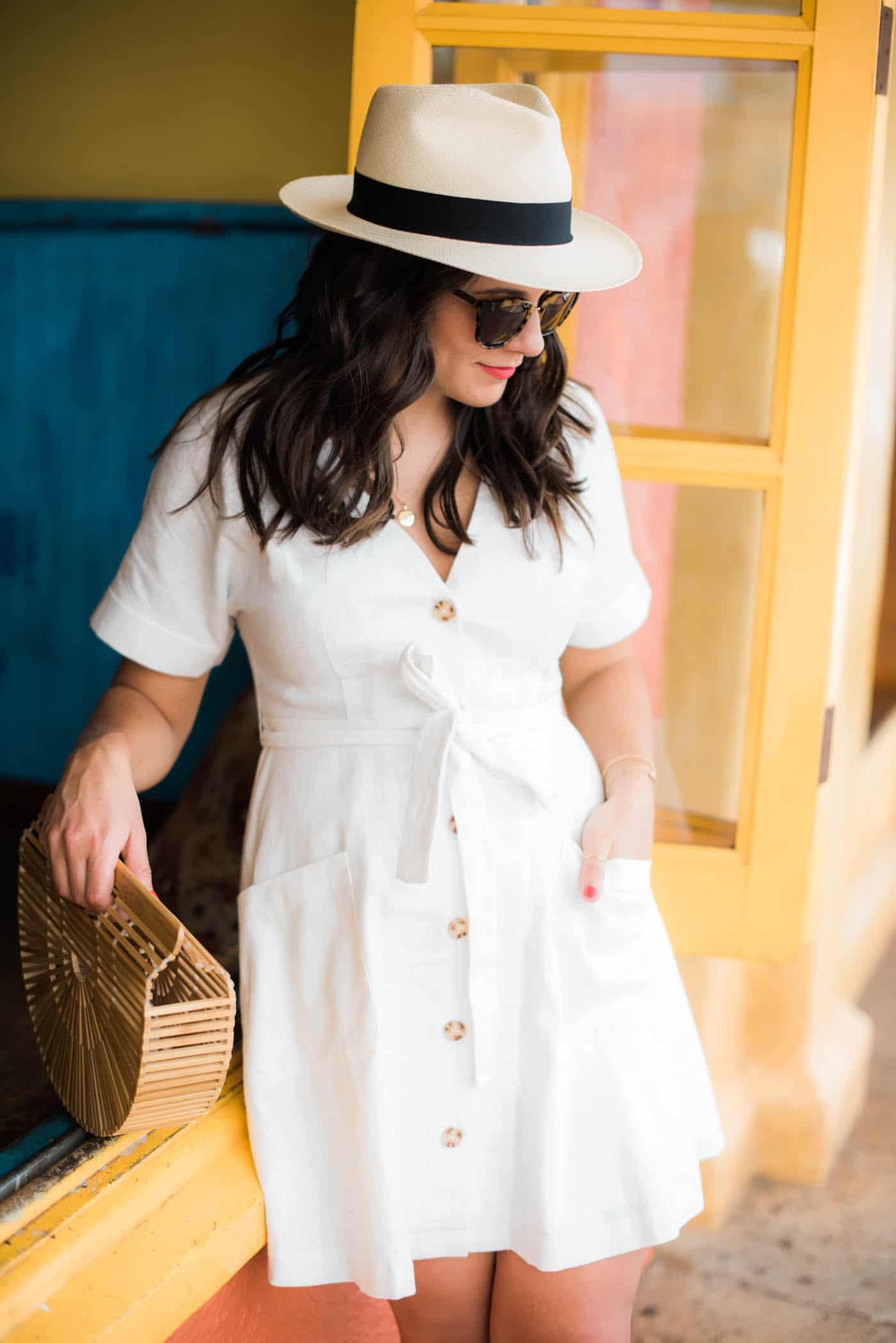 Moon River white linen dress, white summer dress, fedora, cult gaia bag - My Style Vita