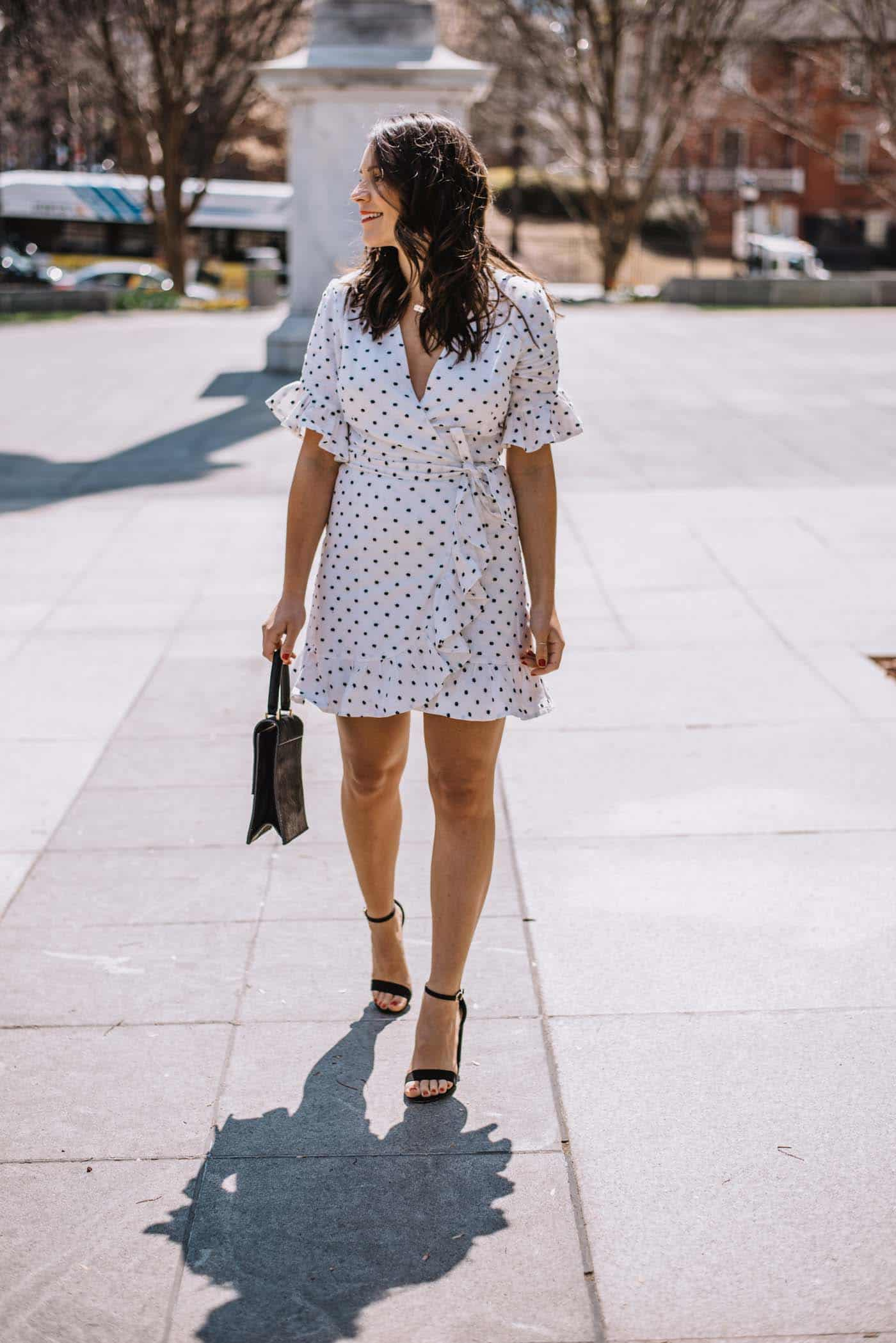 white ruffle wrap dress, best little white dresses for spring - My Style Vita