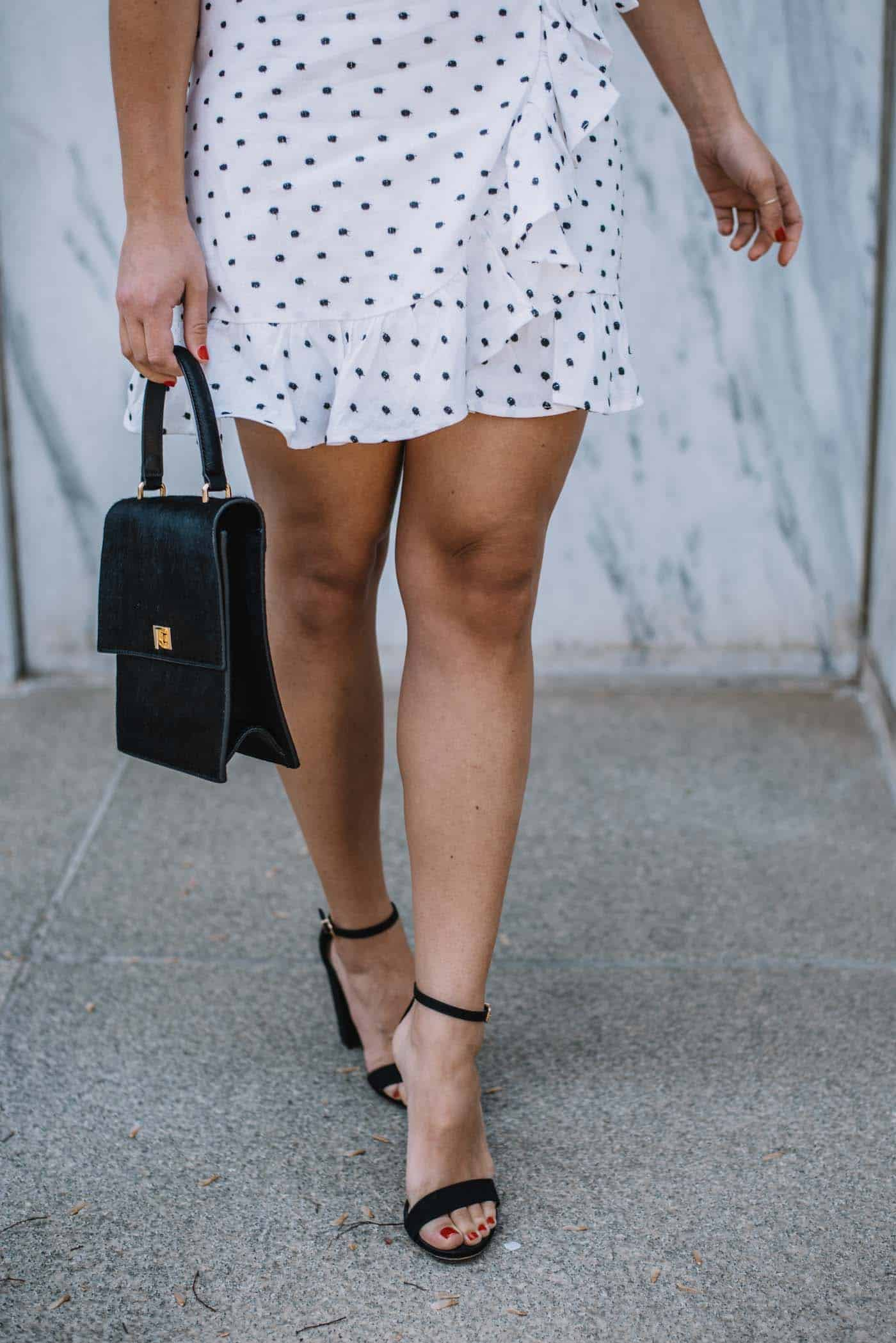 best black high heels, black and white polka dot dress - My Style Vita