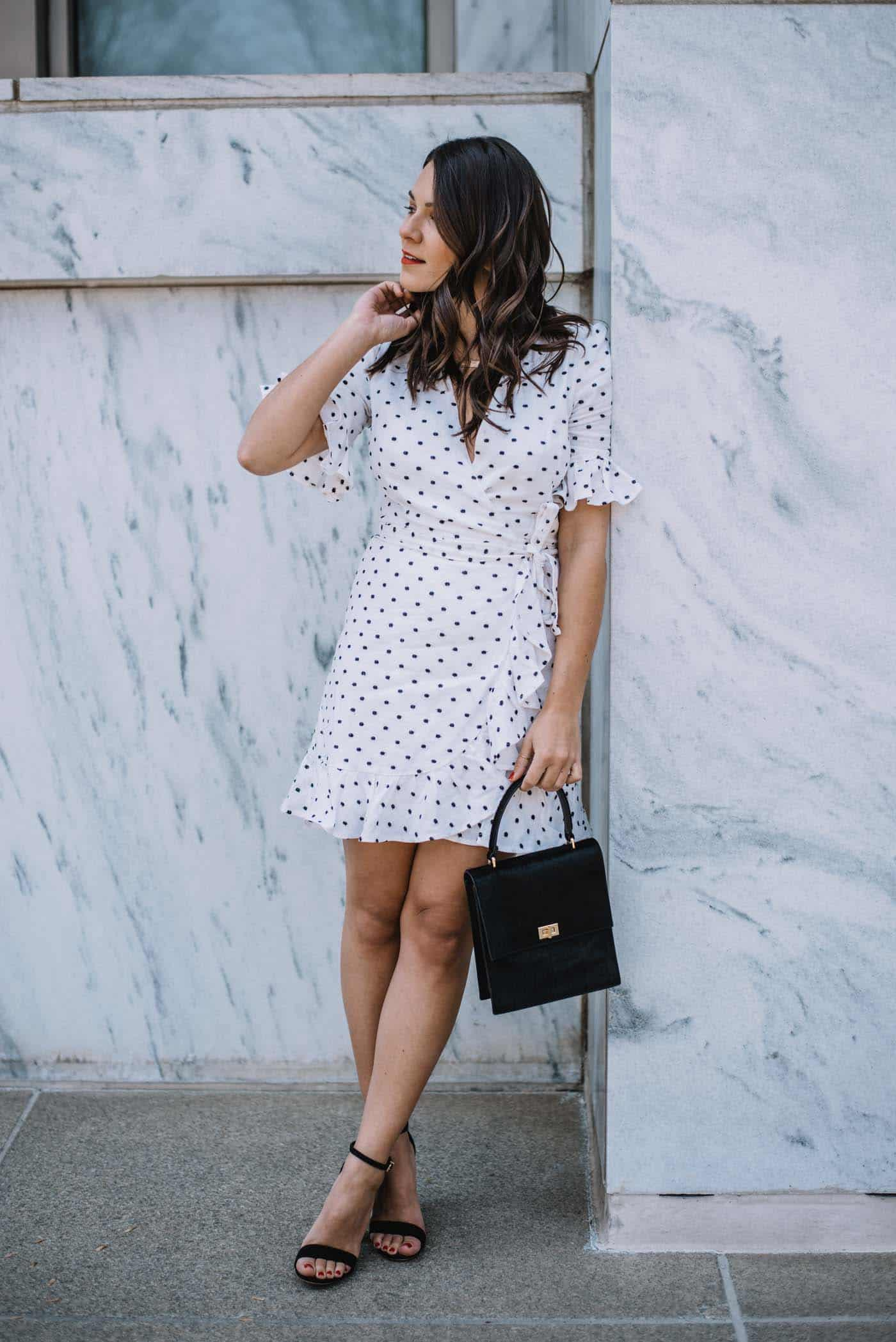 white ruffle wrap dress, best little white dresses for spring, brown balayage - My Style Vita