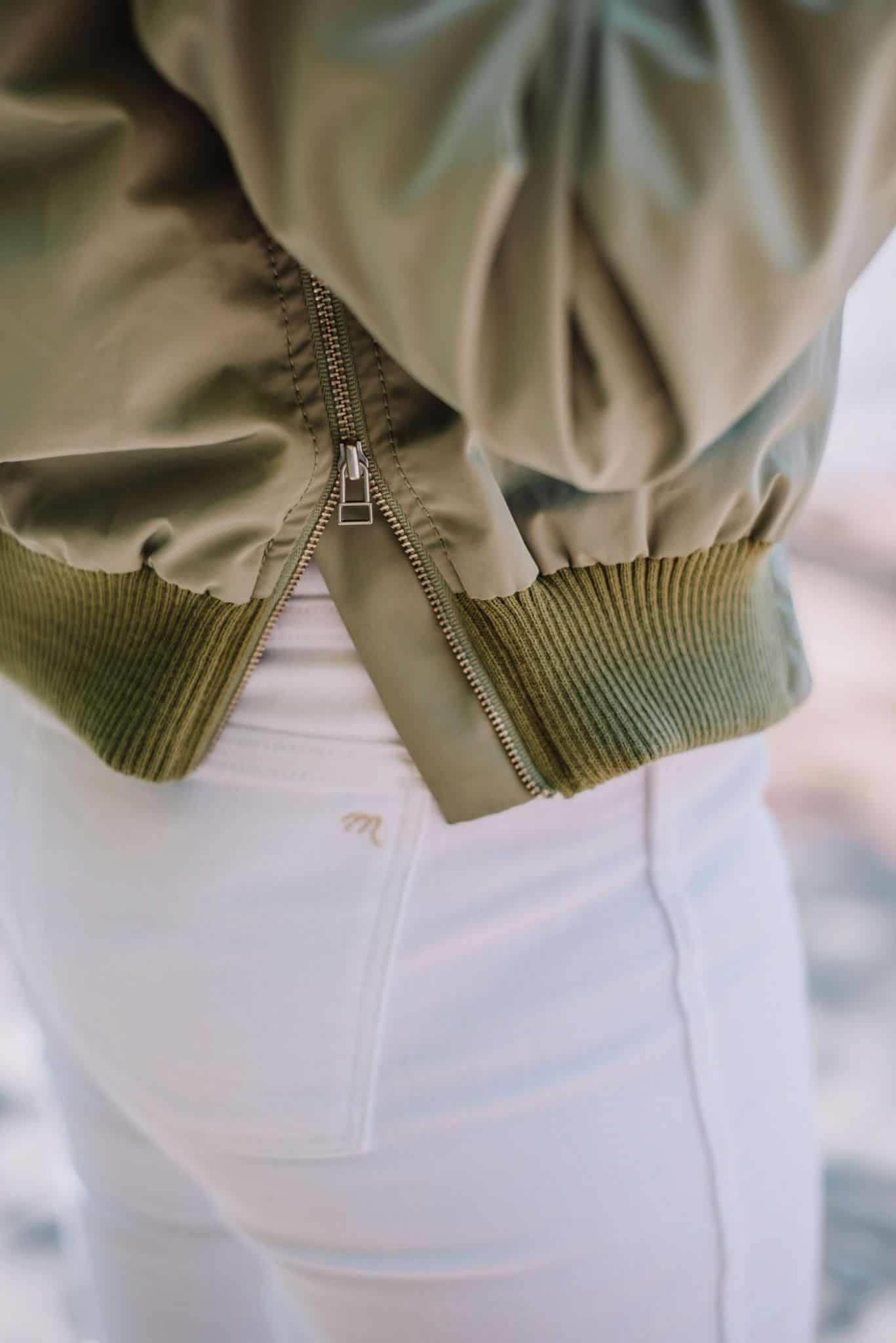 bomber jacket and white jeans, zipper details - My Style Vita