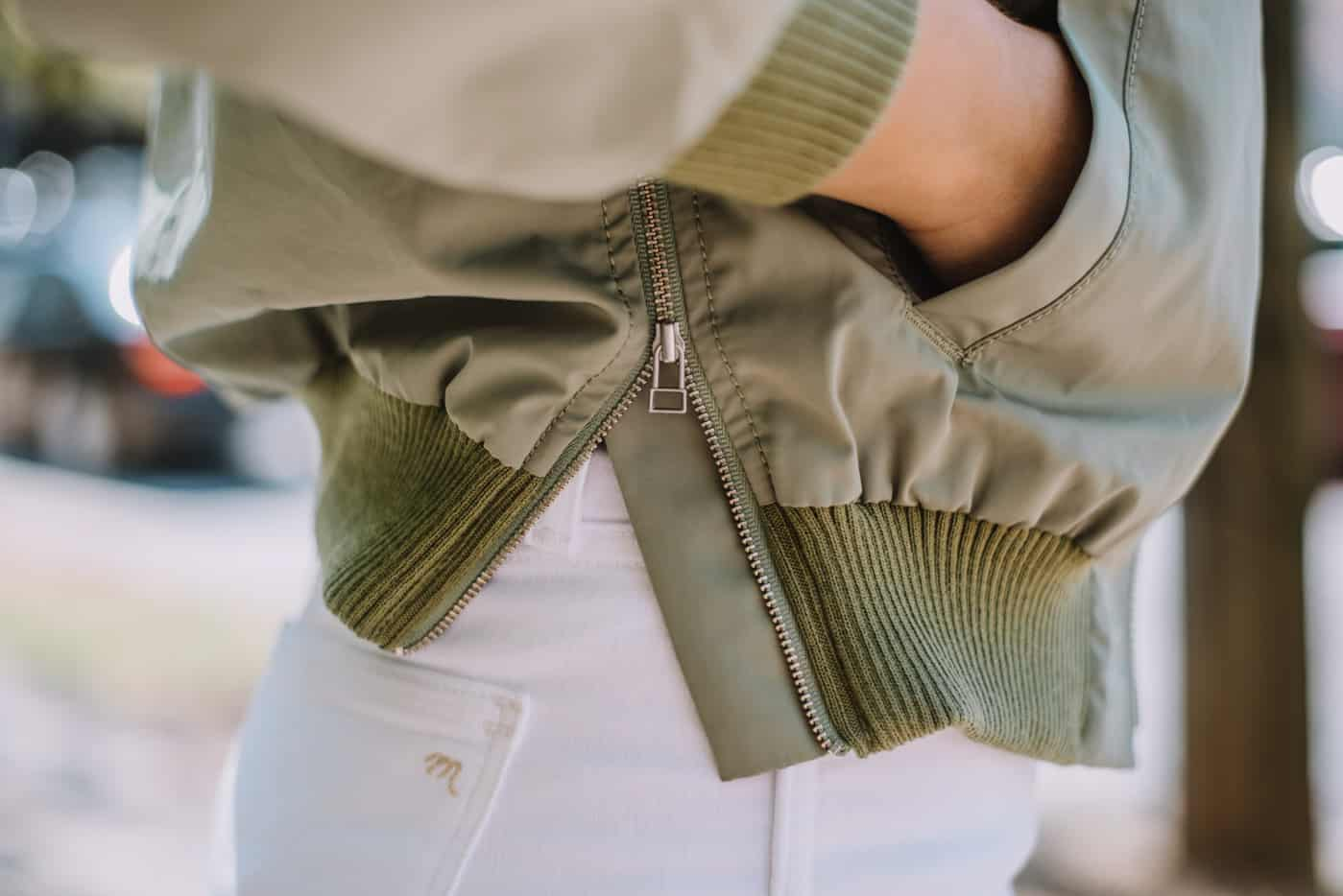 bomber jacket, white jeans, zipper details - My Style Vita
