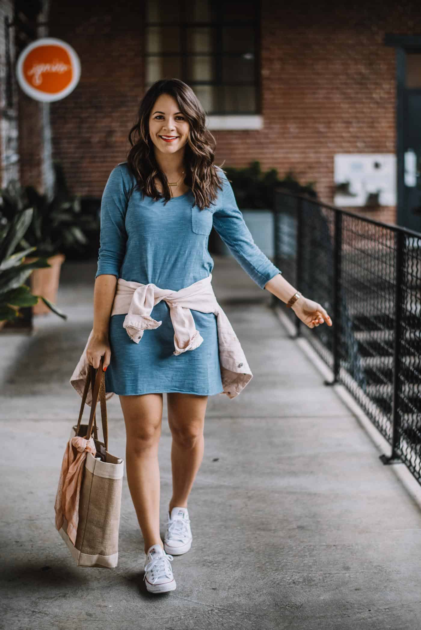 tshirt dress, converse, how to wear a tshirt dress - My Style Vita