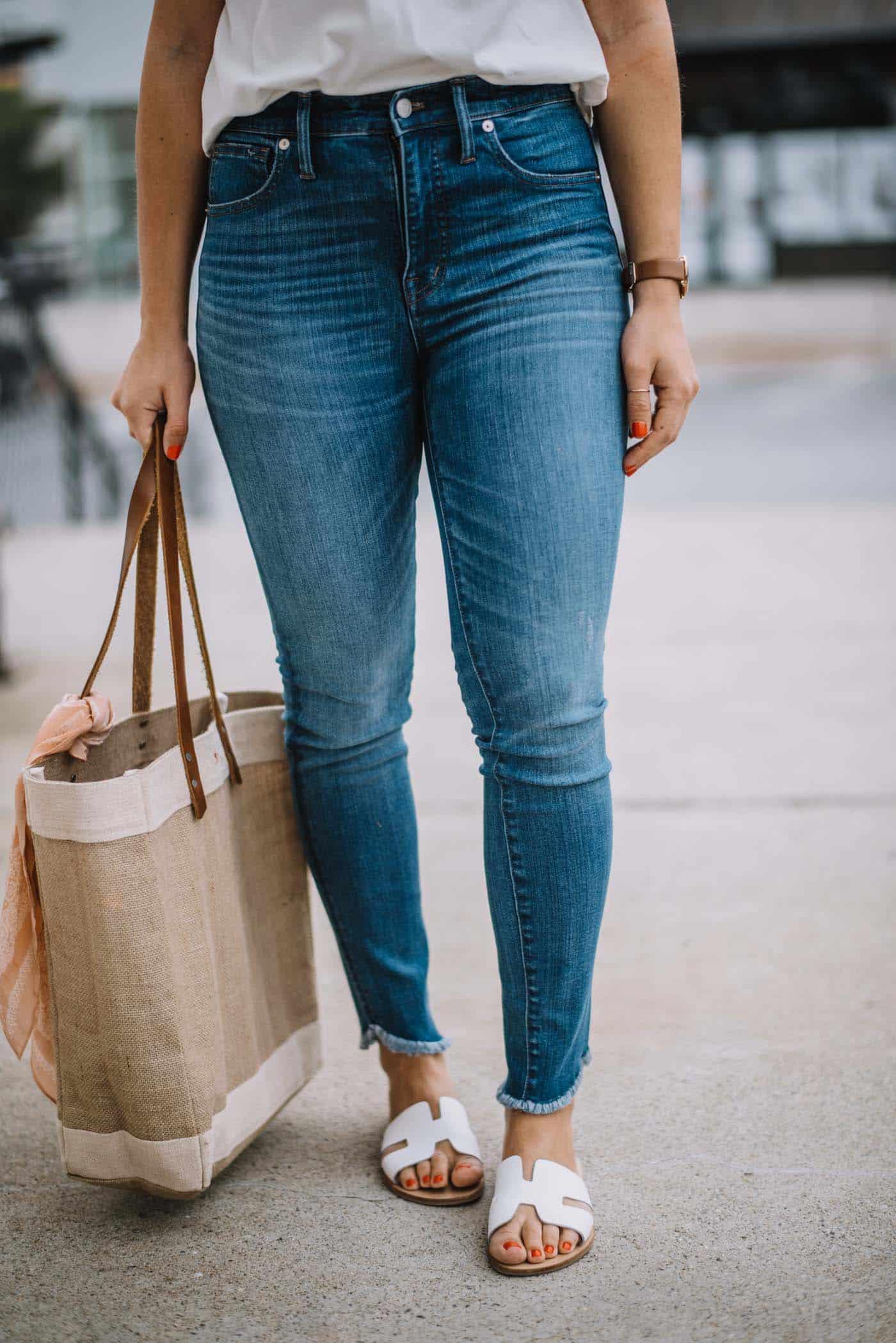 White Steve Madden sandals, summer jeans - My Style Vita