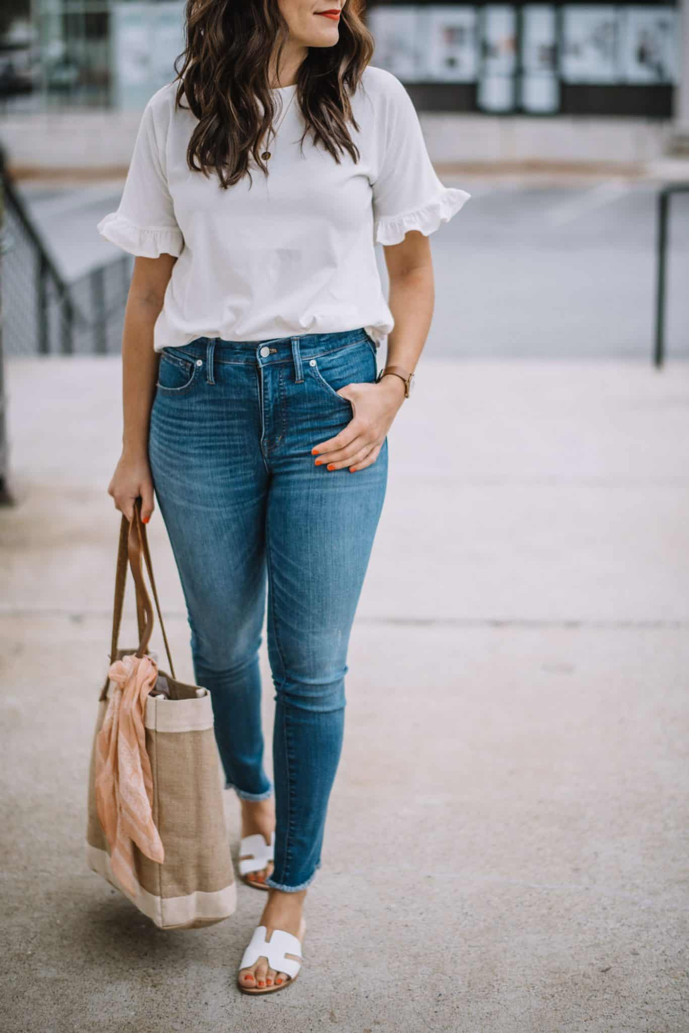 Rachel Parcell ruffle sleeve tee, casual white tee and jeans outfit - My Style Vita