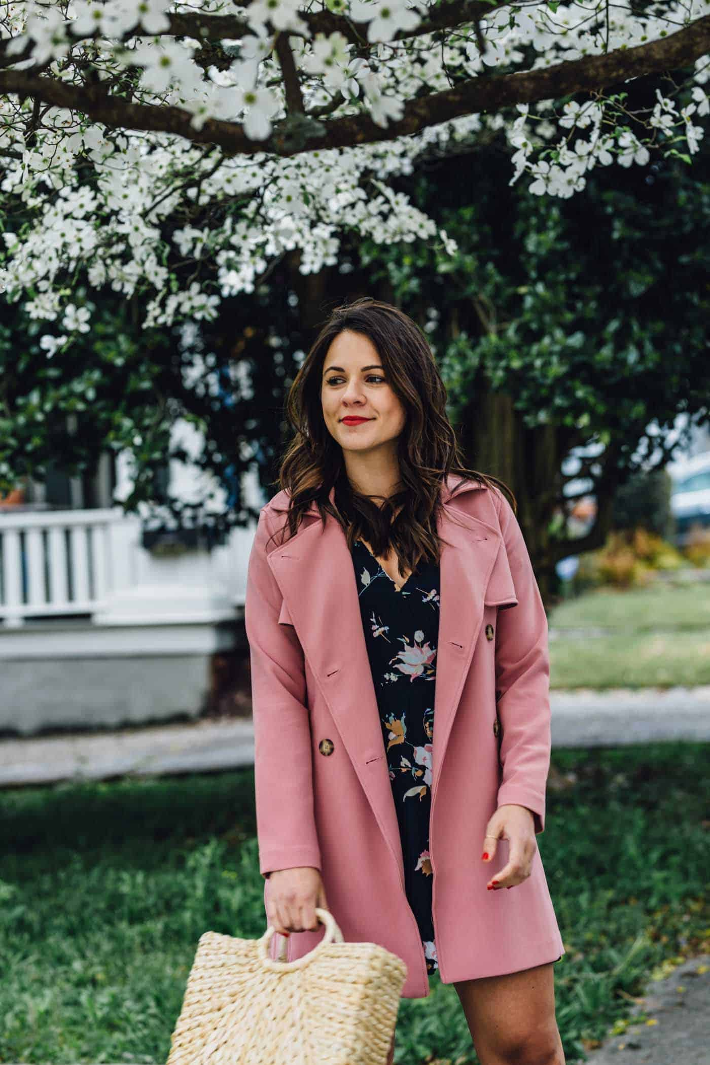 spring floral wrap dress, pink trench coat for spring - My Style Vita