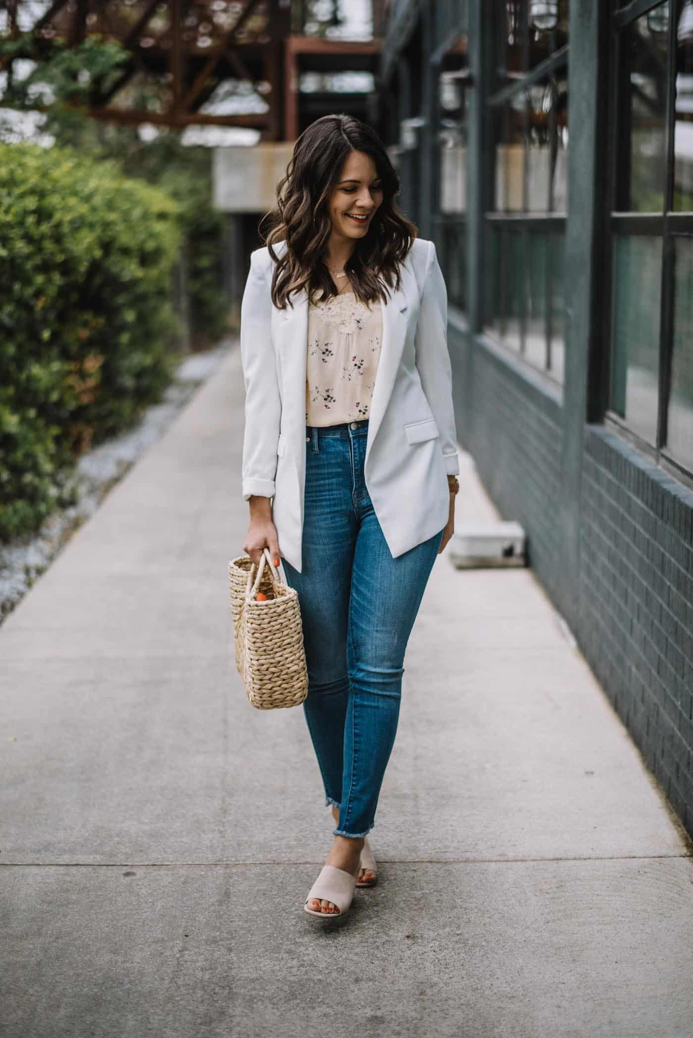 White blazer, spring outfit ideas, how to find a great blazer - My Style Vita