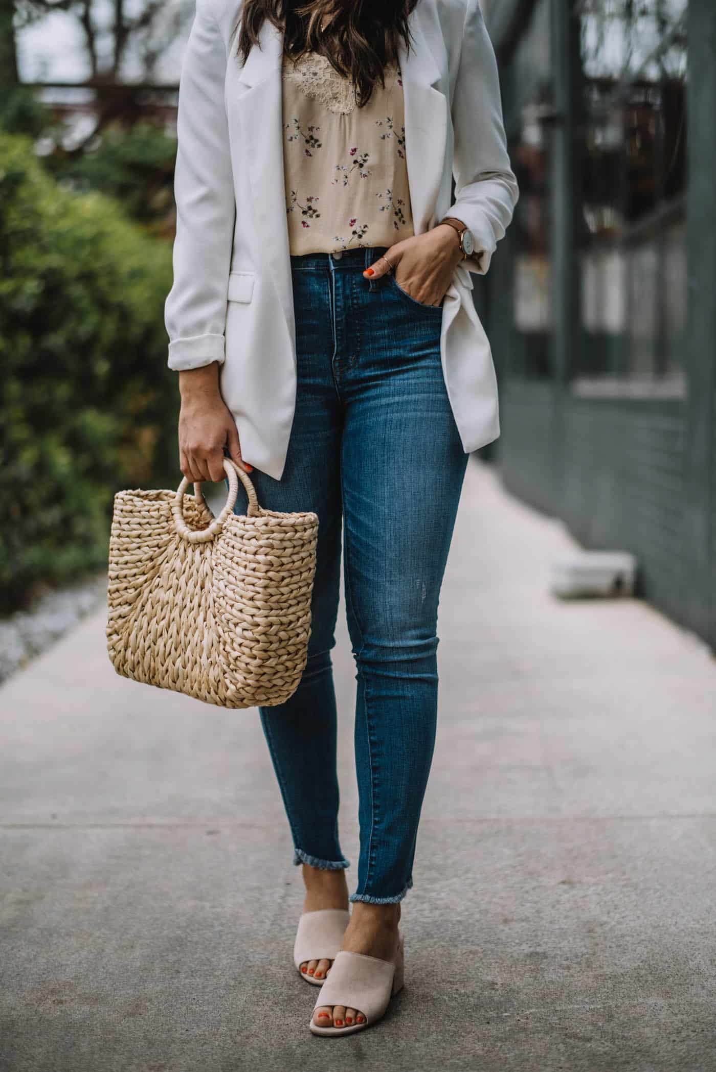 spring outfit ideas, blazer and jeans style, straw bag - My Style Vita @mystylevita