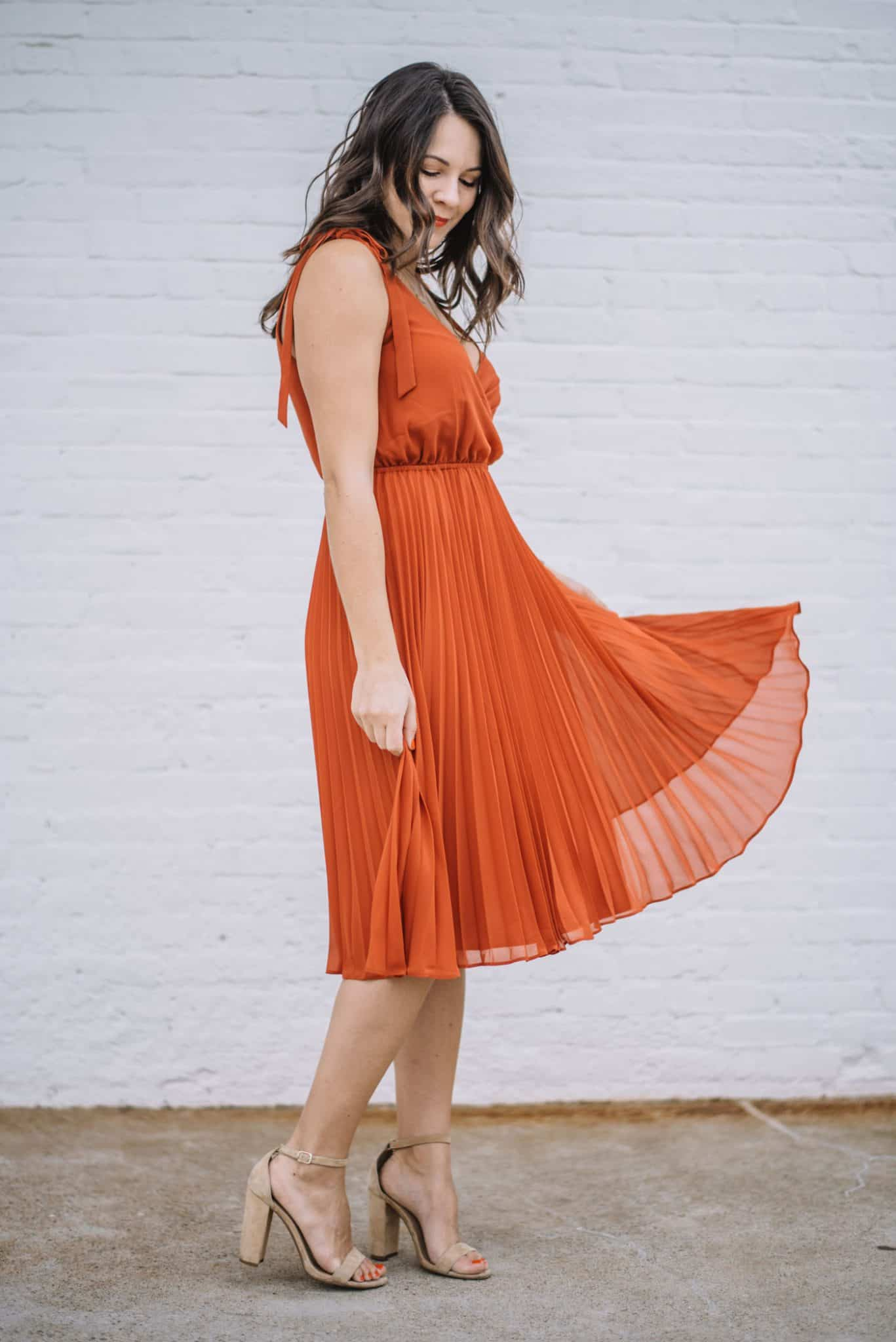 affordable dresses, pleated orange dress for summer - My Style Vita