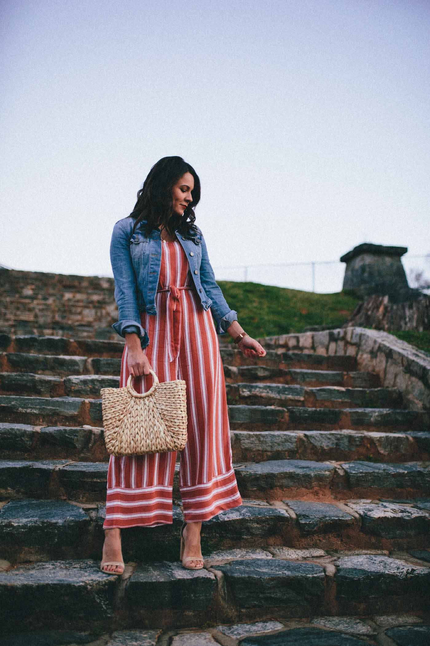 red striped jumpsuit, jumpsuit for spring, straw purse - My Style Vita