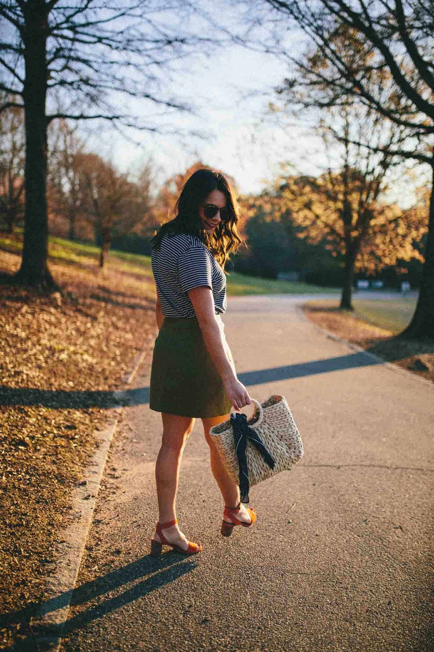 Madewell Button Up Skirt, skirt and striped tee, sunrise photo - My Style Vita