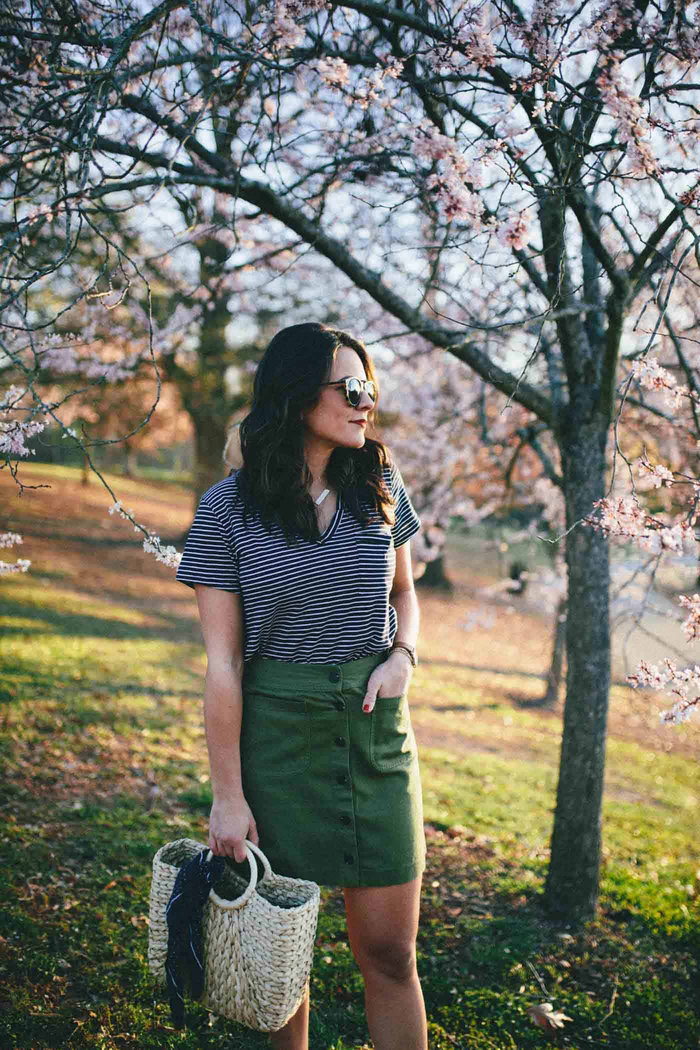 Madewell Button Up Skirt, skirt and striped tee, spring outfit - My Style Vita