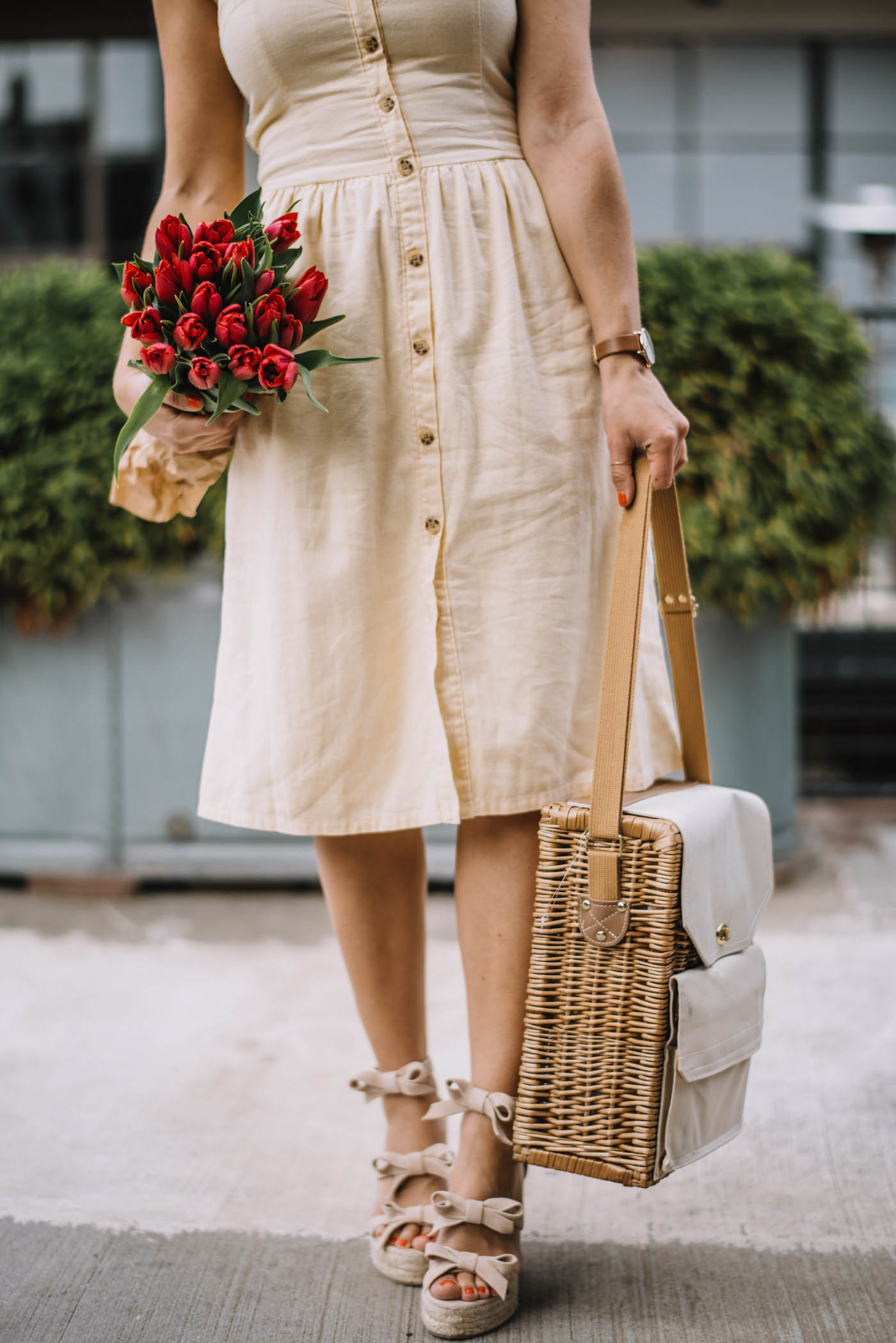 summer dress, wine bag, tulips, summer outfits - My Style Vita